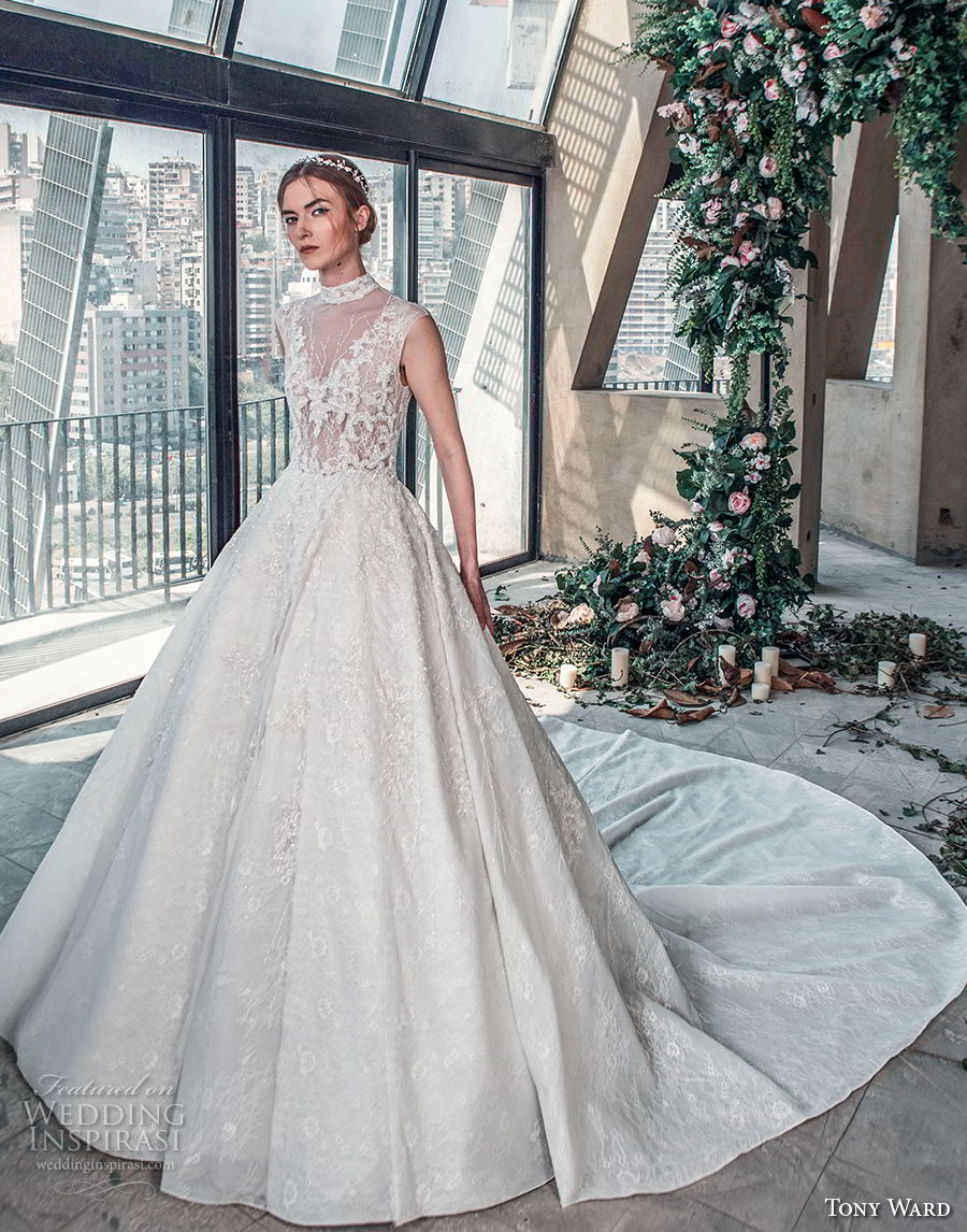 tony ward mariee 2019 sleeveless high neck full embellishment princess elegant a  line wedding dress royal train (7) mv