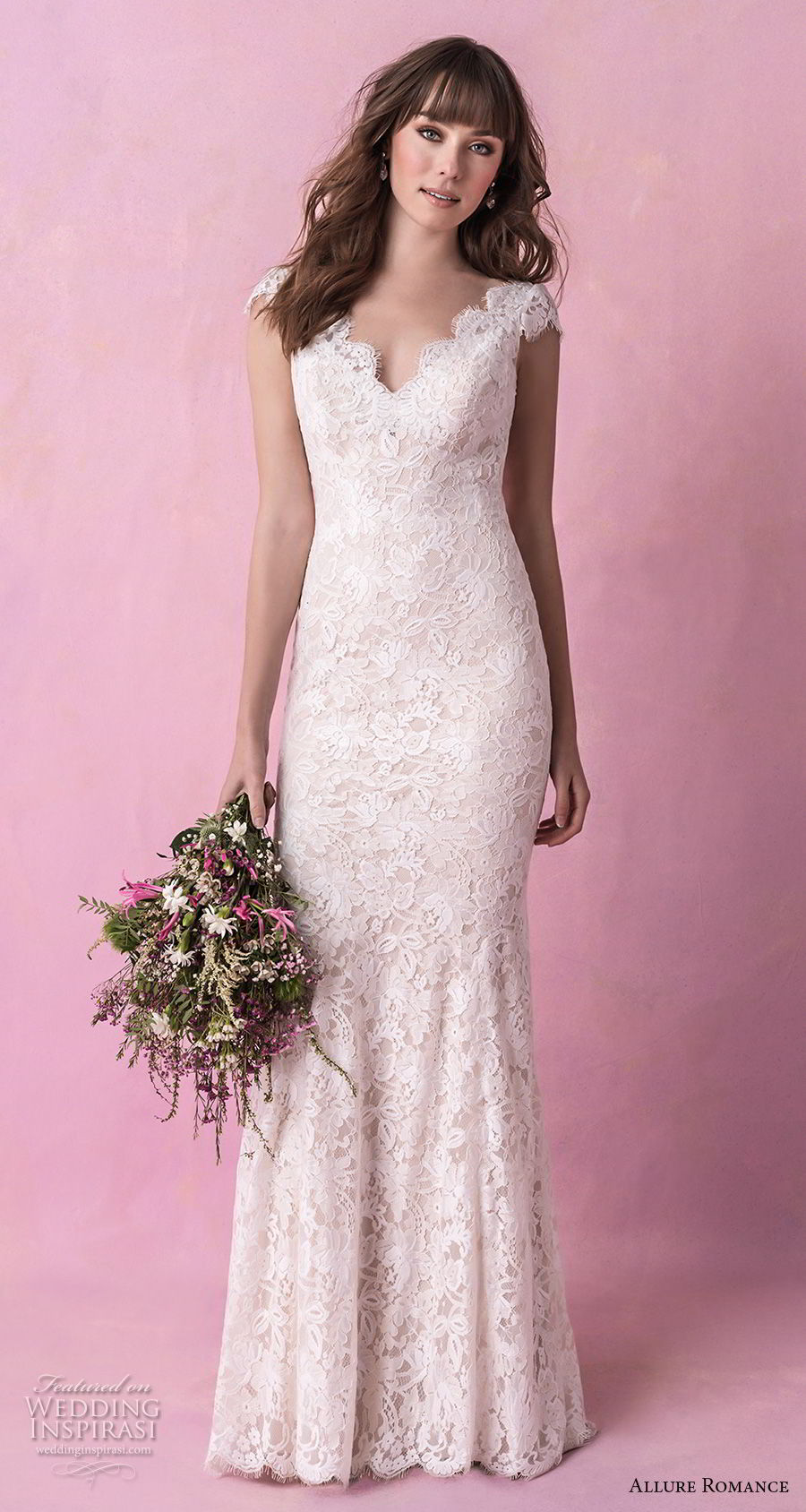 allure romance fall 2018 bridal cap sleeves v neck full embellishment elegant sheath wedding dress v back chapel train (13) mv