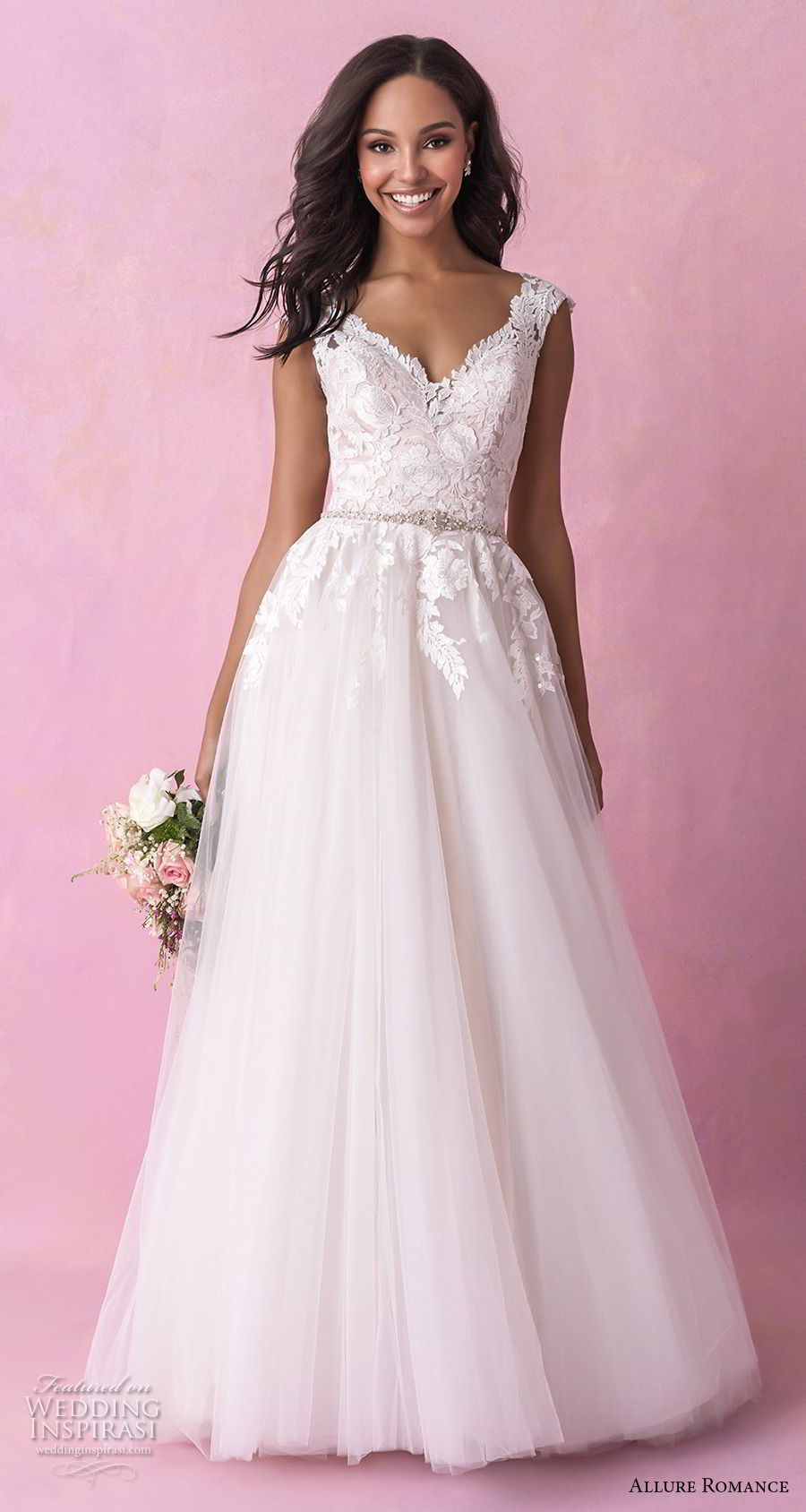 allure romance fall 2018 bridal cap sleeves v neck heavily embellished bodice tulle skirt romantic soft a  line wedding dress open v back chapel train (17) mv