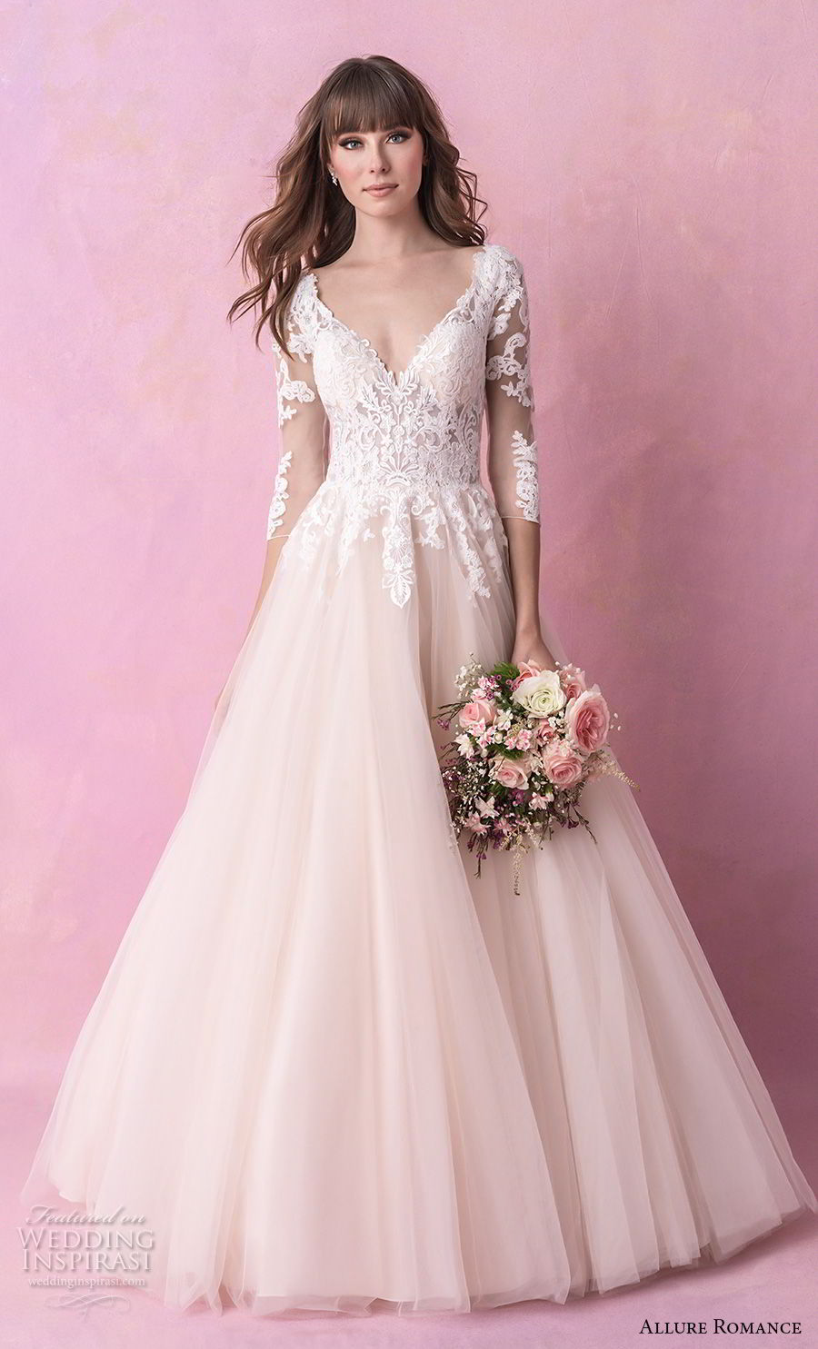 allure romance fall 2018 bridal long sleeves v back heavily embellished bodice romantic blush a  line wedding dress open v back chapel train (5) mv