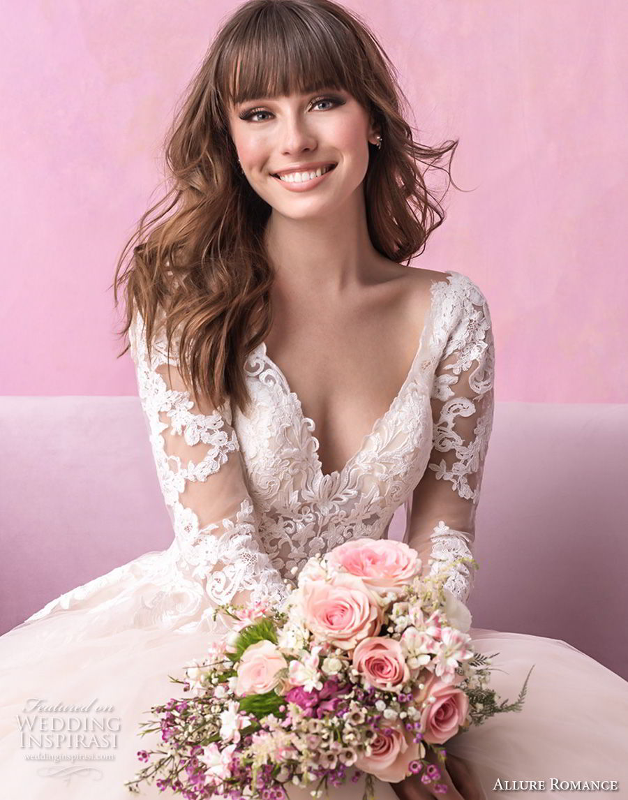 allure romance fall 2018 bridal long sleeves v back heavily embellished bodice romantic blush a  line wedding dress open v back chapel train (5) zv