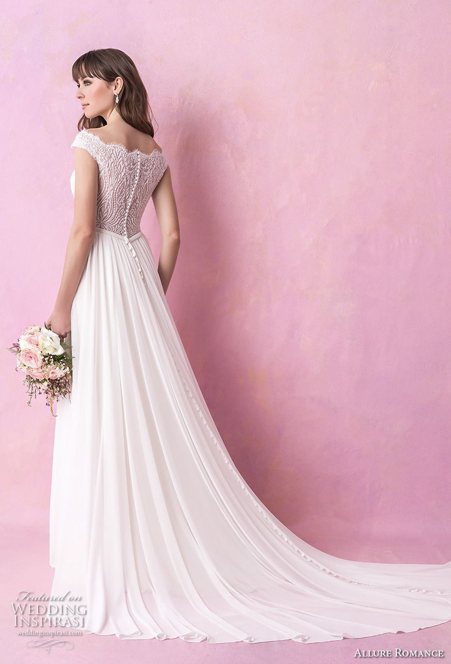allure romance fall 2018 bridal off the shoulder straight across heavily embellished bodice romantic soft a  line wedding dress full lace back chapel train (2) bv