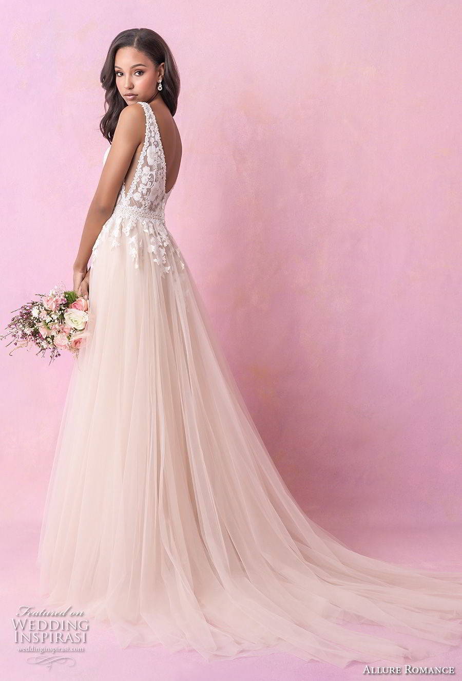 allure romance fall 2018 bridal sleeveless deep v neck heavily embellished bodice romantic blush soft a  line wedding dress open v back chapel train (3) bv