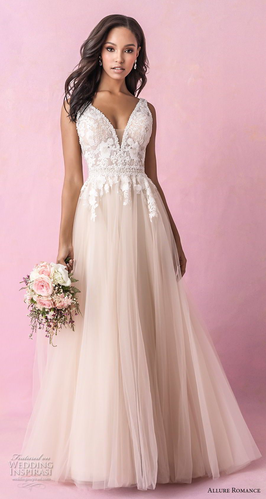 allure romance fall 2018 bridal sleeveless deep v neck heavily embellished bodice romantic blush soft a  line wedding dress open v back chapel train (3) mv
