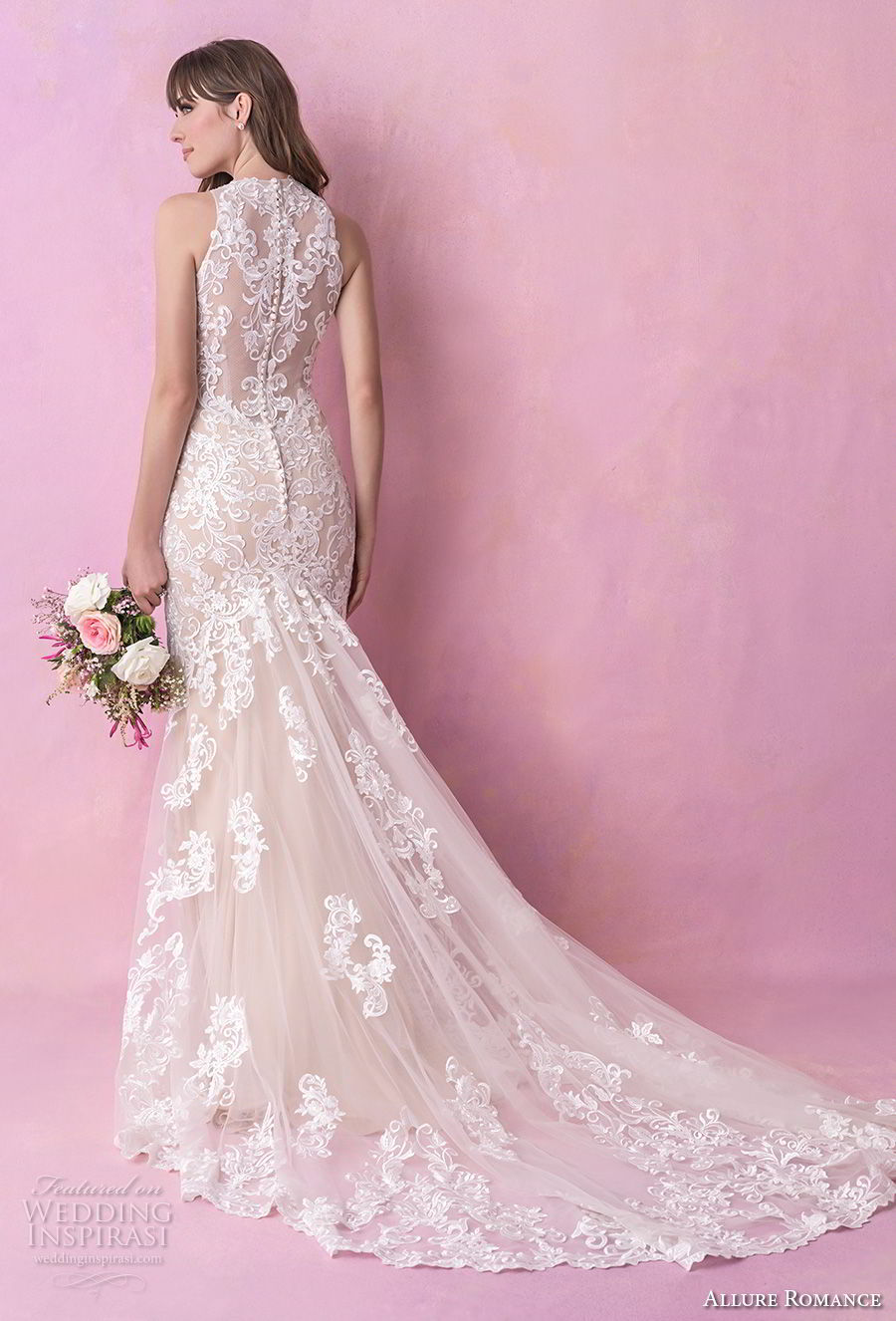 allure romance fall 2018 bridal sleeveless halter jewel neck full embellishment elegant fit and flare wedding dress sheer lace back chapel train (15) bv
