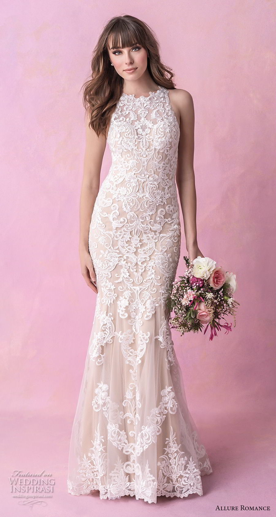 allure romance fall 2018 bridal sleeveless halter jewel neck full embellishment elegant fit and flare wedding dress sheer lace back chapel train (15) mv