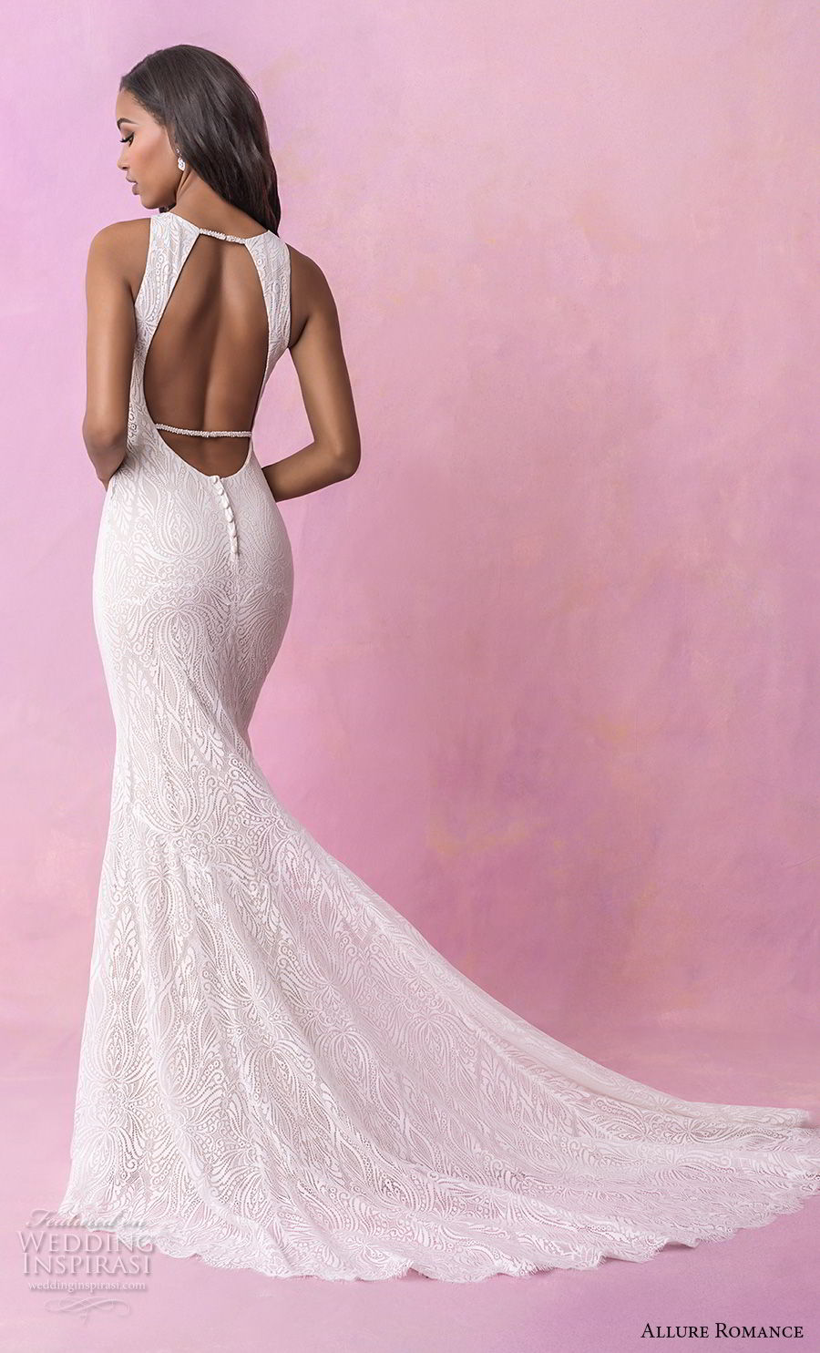 allure romance fall 2018 bridal sleeveless halter jewel neck full embellishment elegant sheath wedding dress low open back sweep train (6) bv