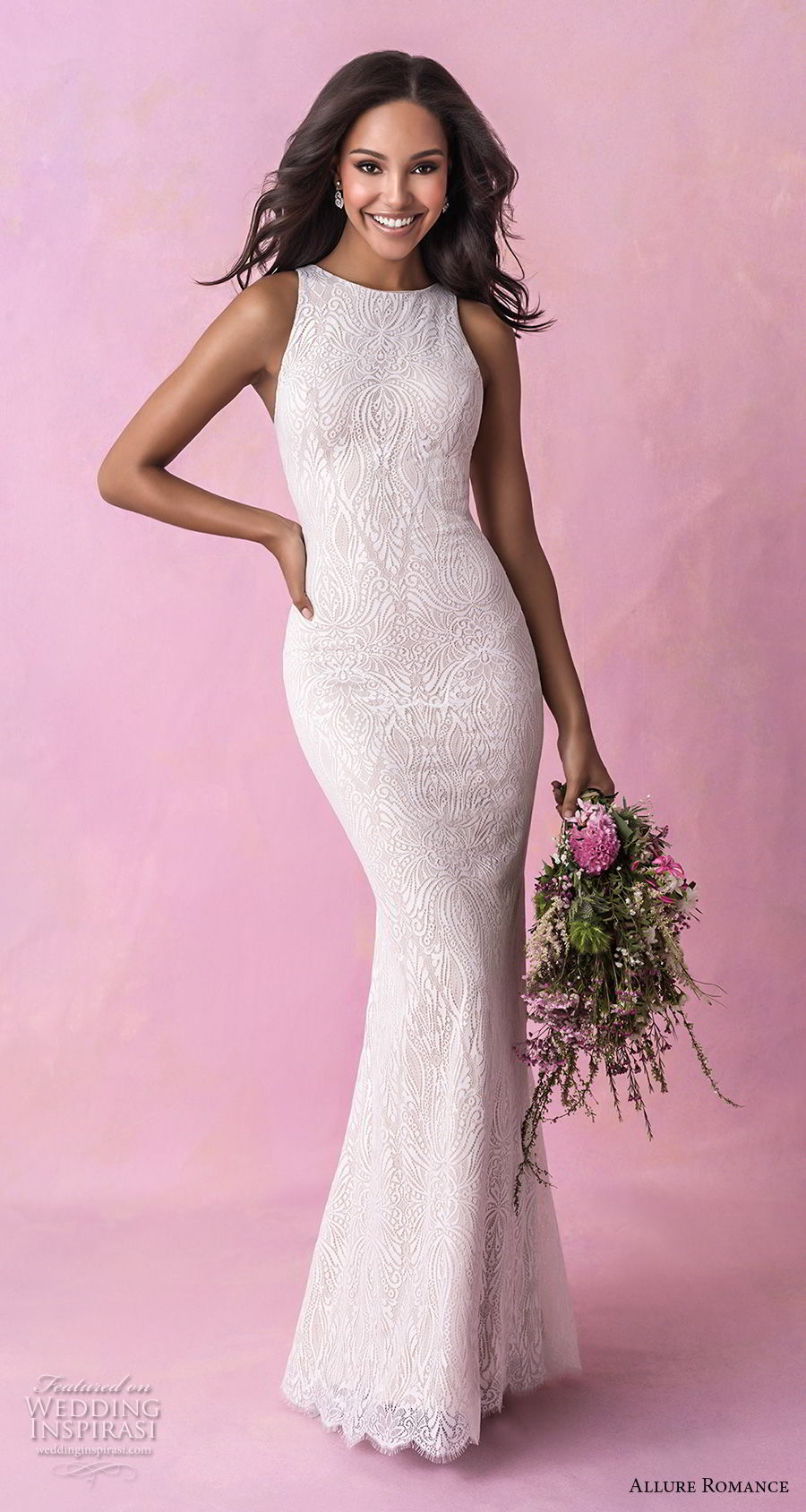 allure romance fall 2018 bridal sleeveless halter jewel neck full embellishment elegant sheath wedding dress low open back sweep train (6) mv