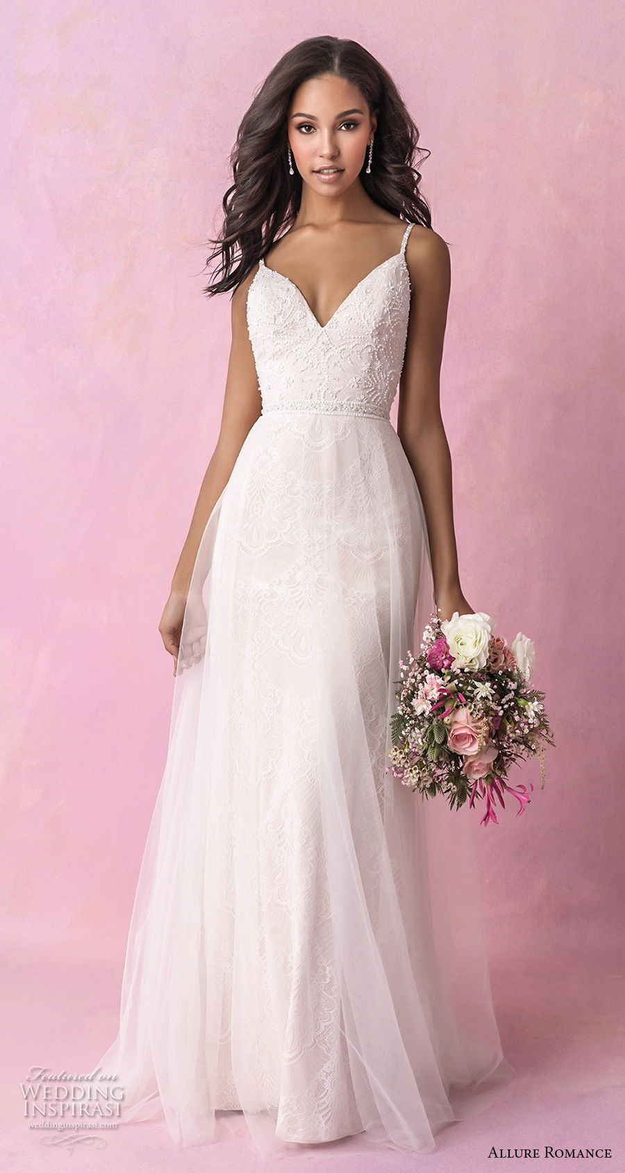 allure romance fall 2018 bridal sleeveless spaghetti strap sweetheart neckline heavily embellished bodice romantic soft a  line wedding dress open scoop back chapel train (16) mv