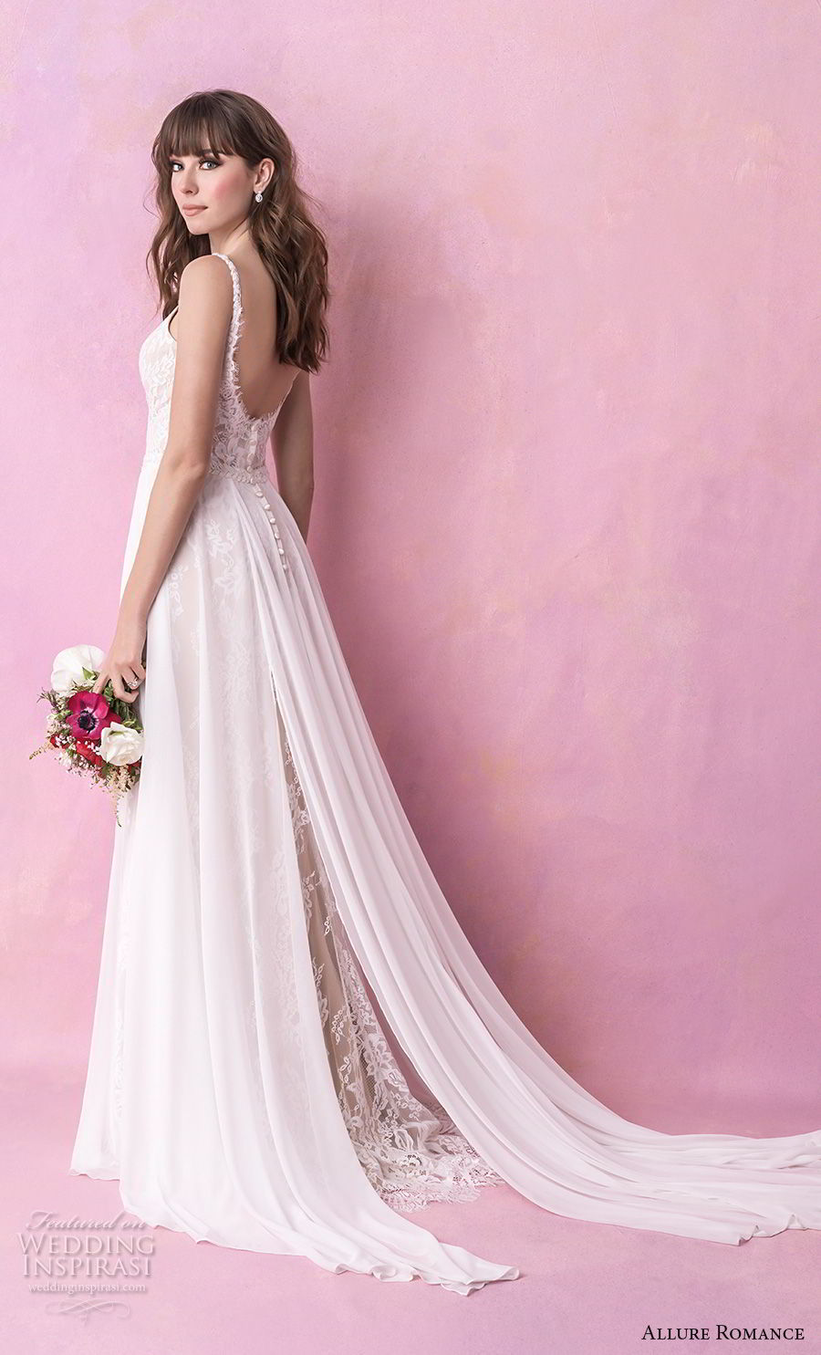 allure romance fall 2018 bridal sleeveless thin strap deep sweetheart neckline heavily embellished bodice slit skirt soft a  line wedding dress open scoop back chapel train (18) bv