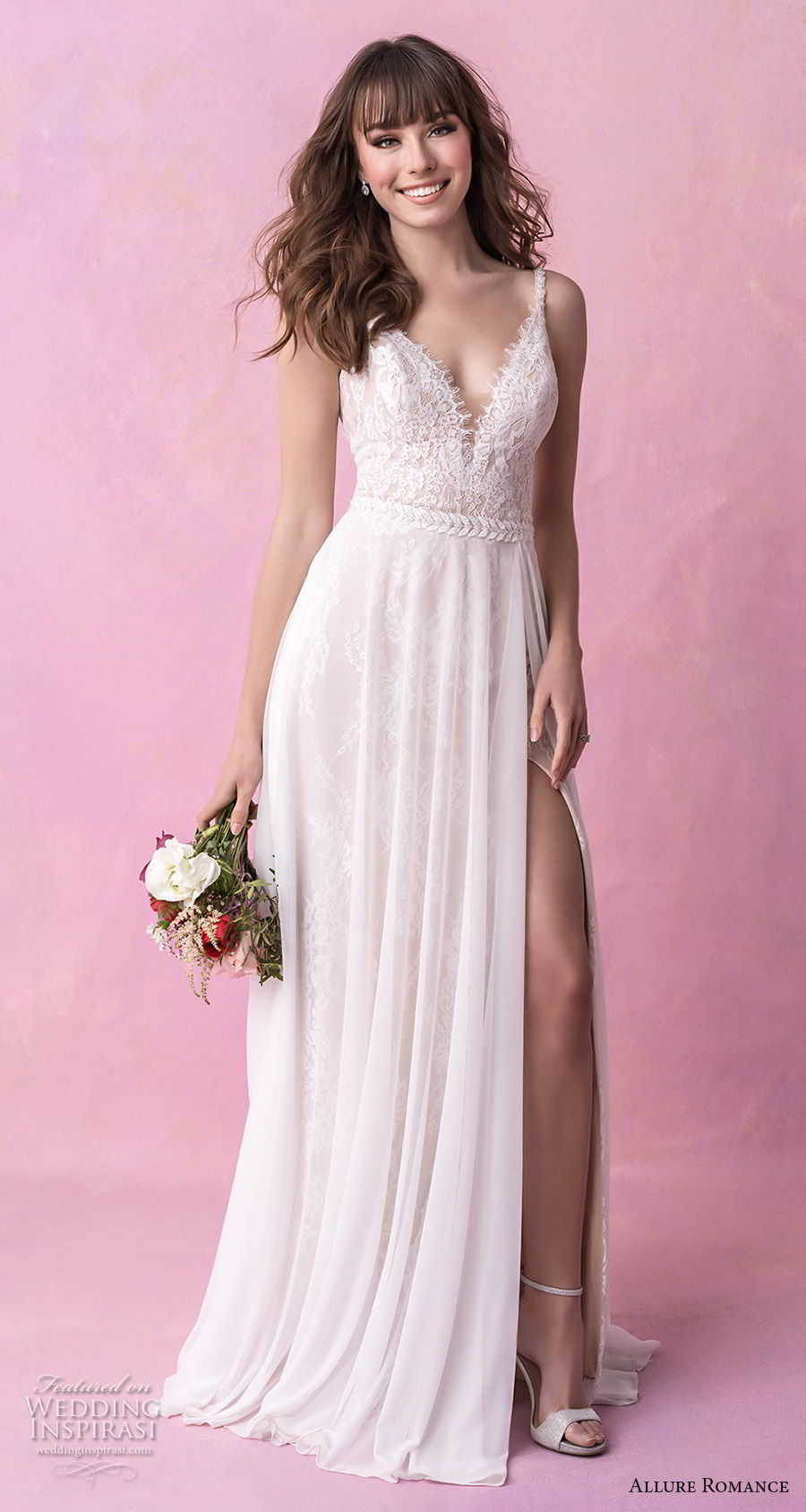 allure romance fall 2018 bridal sleeveless thin strap deep sweetheart neckline heavily embellished bodice slit skirt soft a  line wedding dress open scoop back chapel train (18) mv