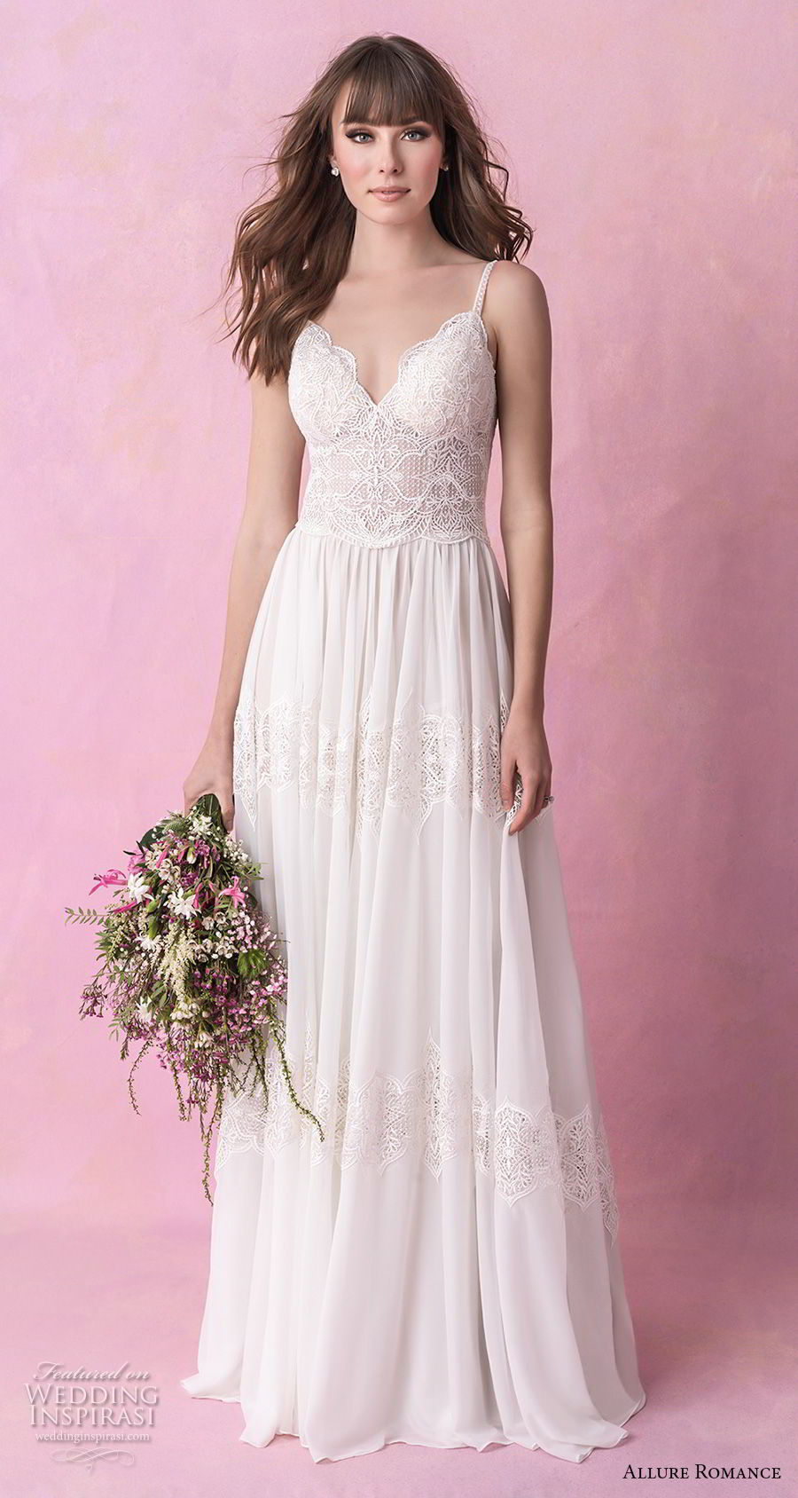allure romance fall 2018 bridal sleeveless thin strap sweetheart neckline heavily embellished bodice romantic soft a  line wedding dress open scoop back chapel train (9) mv