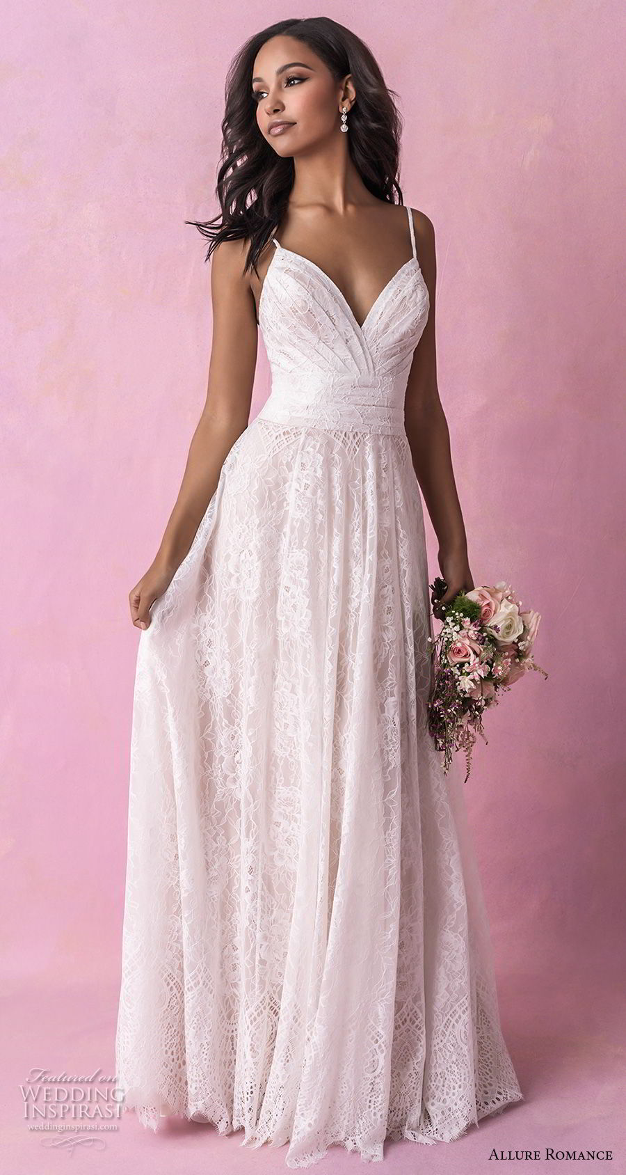 allure romance fall 2018 bridal sleeveless thin strap sweetheart neckline light embellishment ruched bodice soft a  line wedding dress chapel train (8) mv