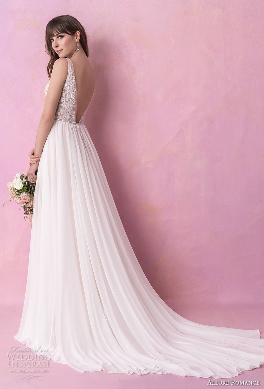 allure romance fall 2018 bridal sleeveless v neck heavily embellished bodice romantic soft a  line wedding dress open v back chapel train (14) bv