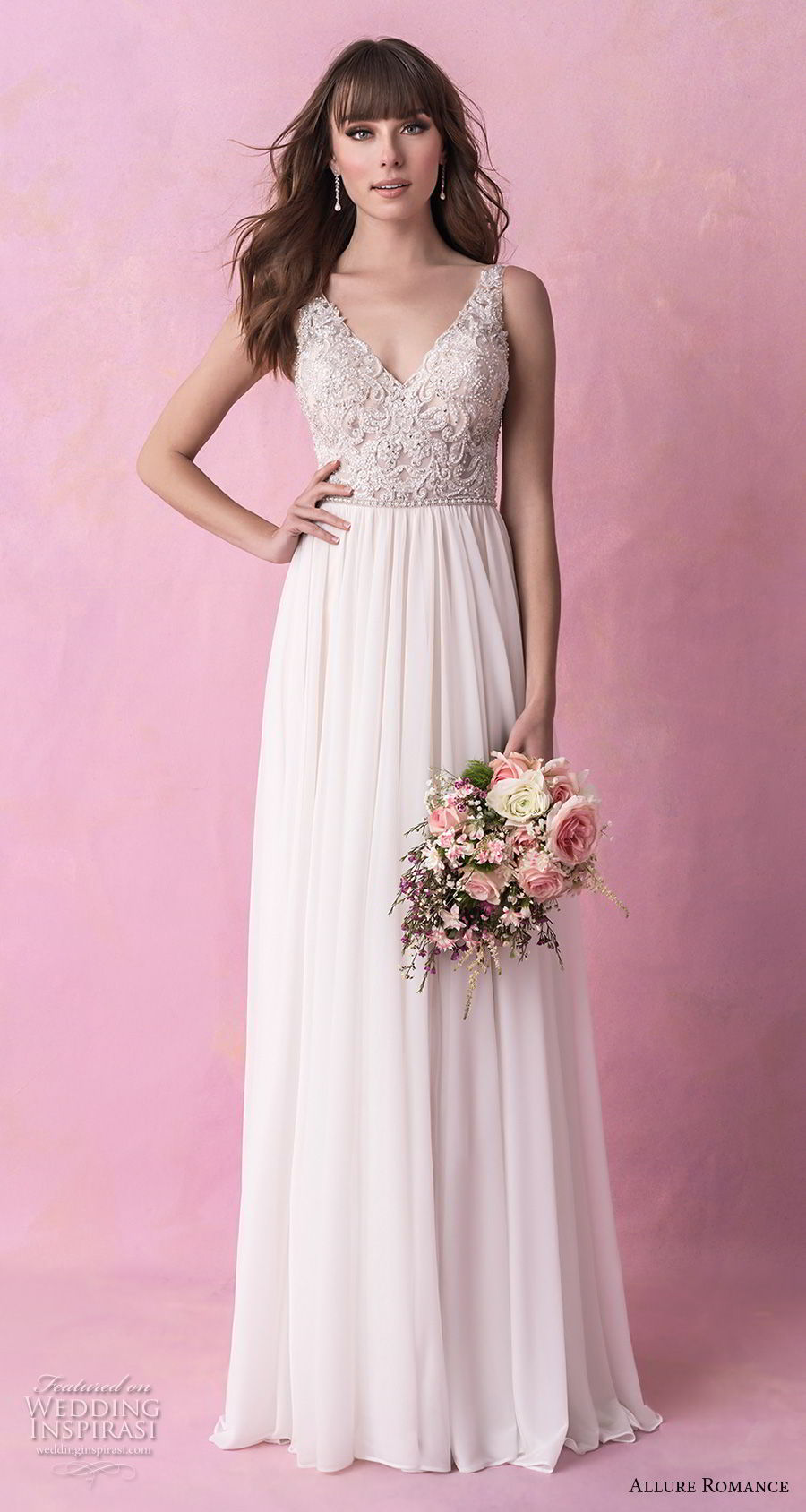 allure romance fall 2018 bridal sleeveless v neck heavily embellished bodice romantic soft a  line wedding dress open v back chapel train (14) mv