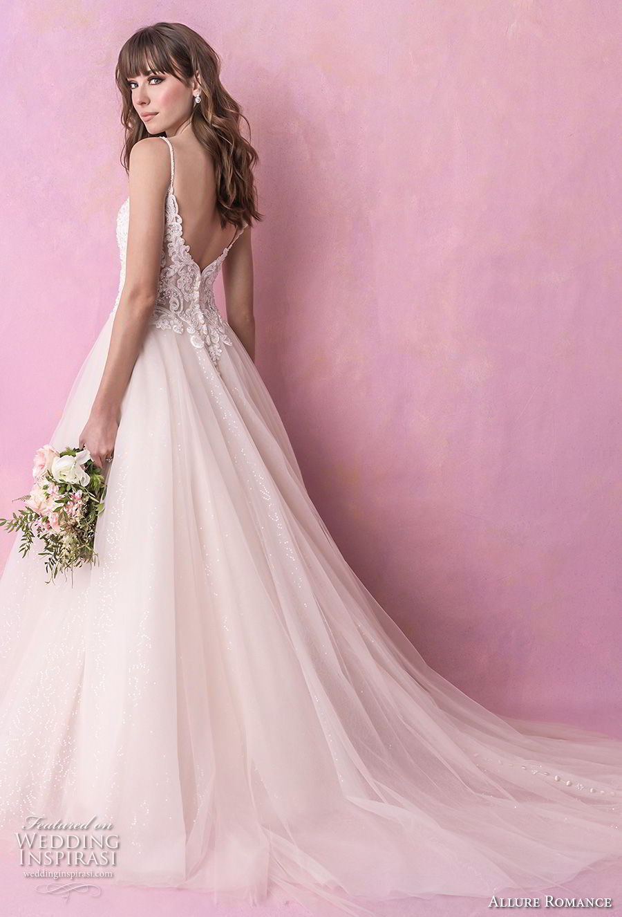 allure romance fall 2018 bridal spaghetti strap sweetheart neckline heavily embellished bodice tulle skirt romantic soft a  line wedding dress open v back chapel train (1) bv
