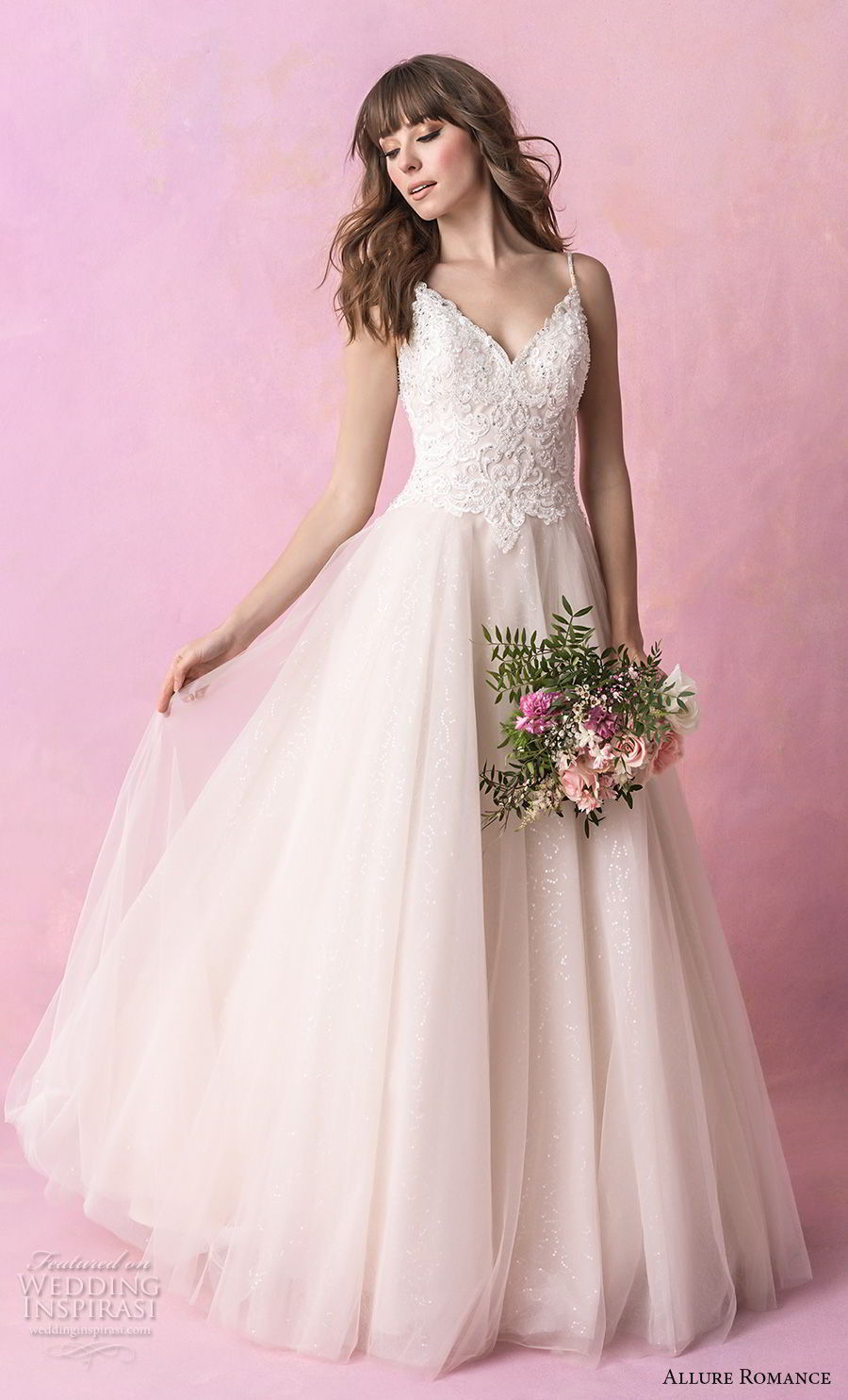 allure romance fall 2018 bridal spaghetti strap sweetheart neckline heavily embellished bodice tulle skirt romantic soft a  line wedding dress open v back chapel train (1) mv