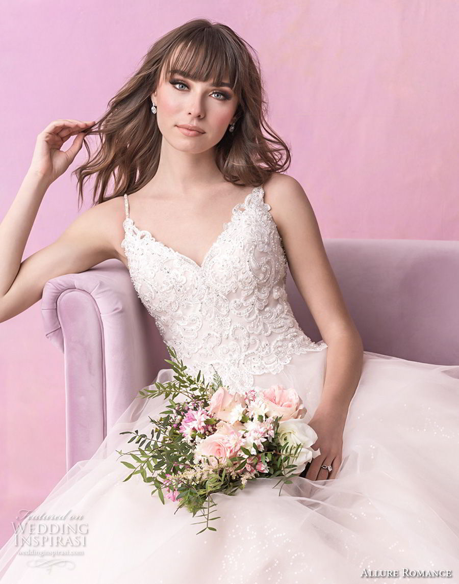 allure romance fall 2018 bridal spaghetti strap sweetheart neckline heavily embellished bodice tulle skirt romantic soft a  line wedding dress open v back chapel train (1) zv