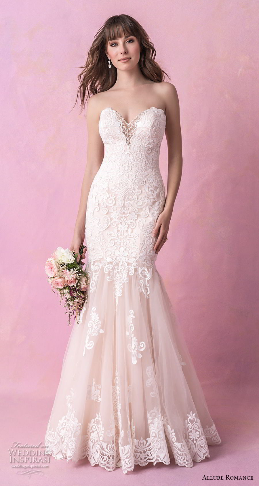 allure romance fall 2018 bridal strapless sweetheart neckline heavily embellished bodice elegant mermaid wedding dress chapel train (10) mv