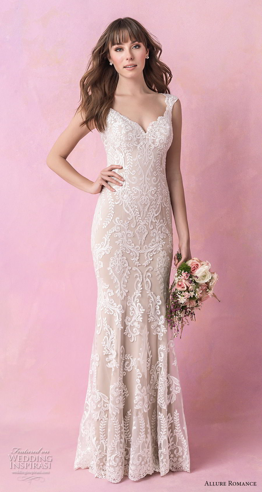 allure romance fall 2018 bridal thick strap v neck full embellishment elegant sheath wedding dress open scoop back chapel train (4) mv