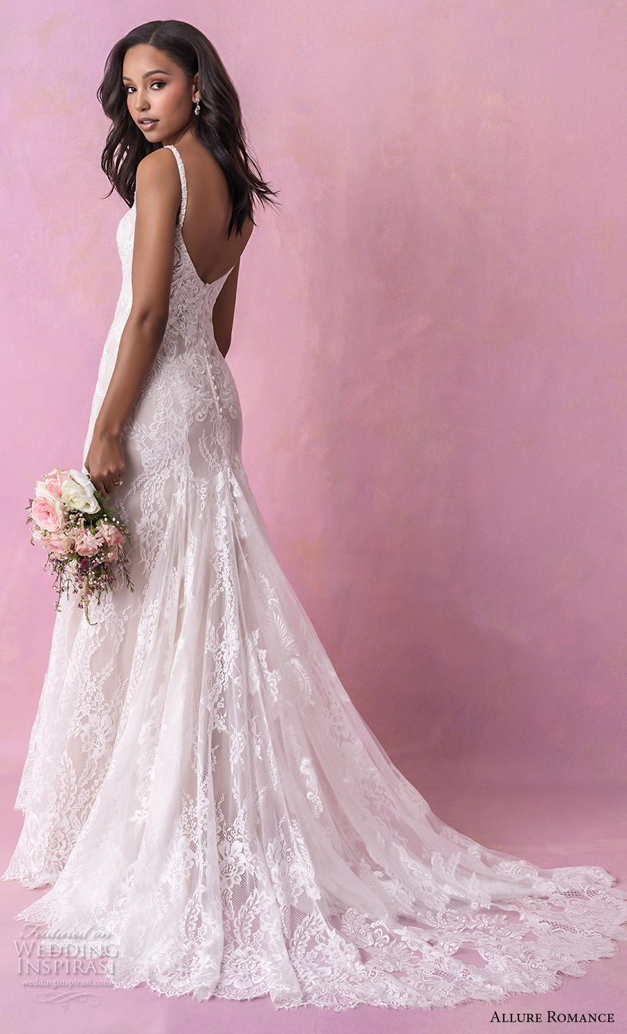allure romance fall 2018 bridal thin strap v neck full embellishment elegant sheath wedding dress open back chapel train (7) bv