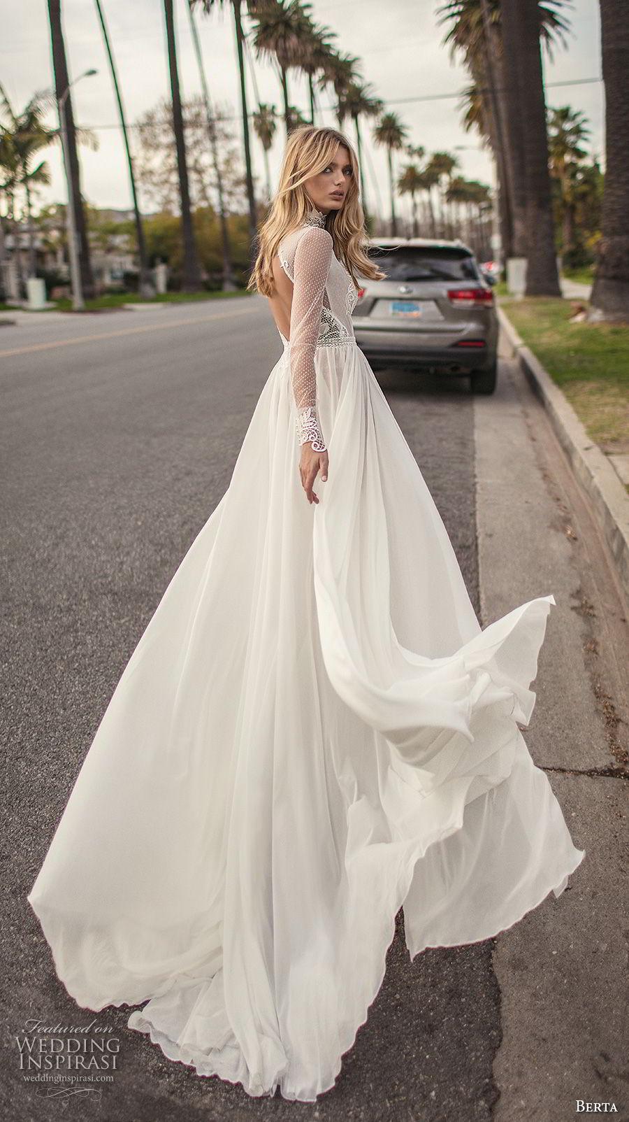 berta 2019 muse bridal long sleeves high neck heavily embellished bodice high slit skirt sexy soft a  line wedding dress keyhole back chapel train (7) bv
