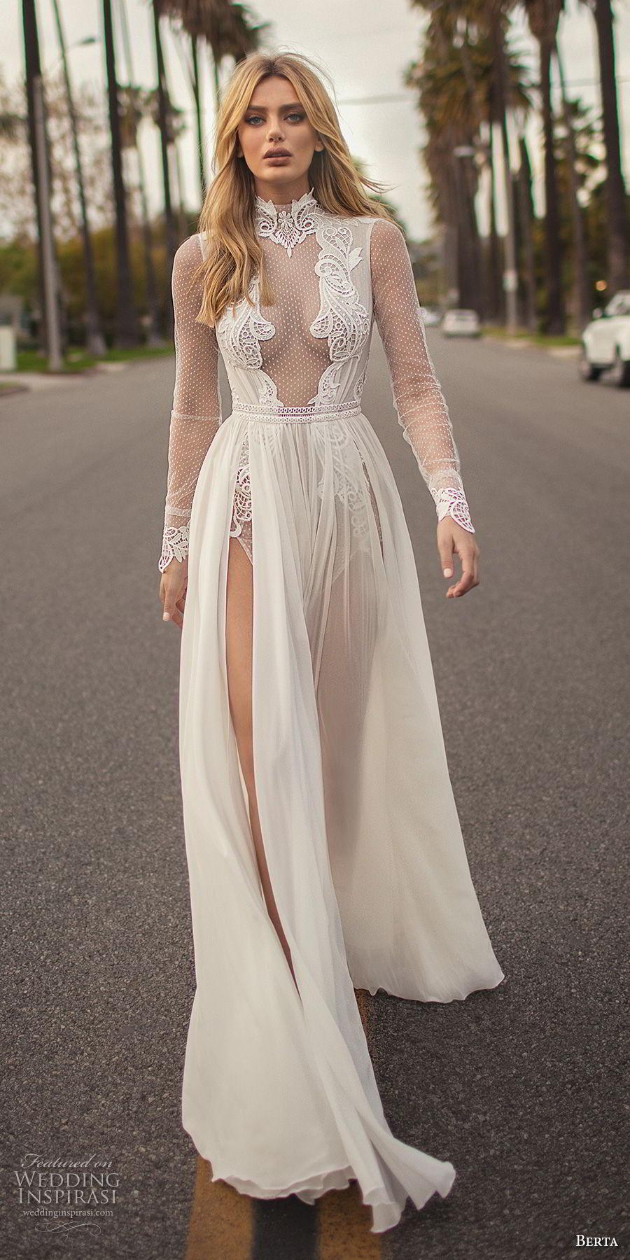 berta 2019 muse bridal long sleeves high neck heavily embellished bodice high slit skirt sexy soft a  line wedding dress keyhole back chapel train (7) mv