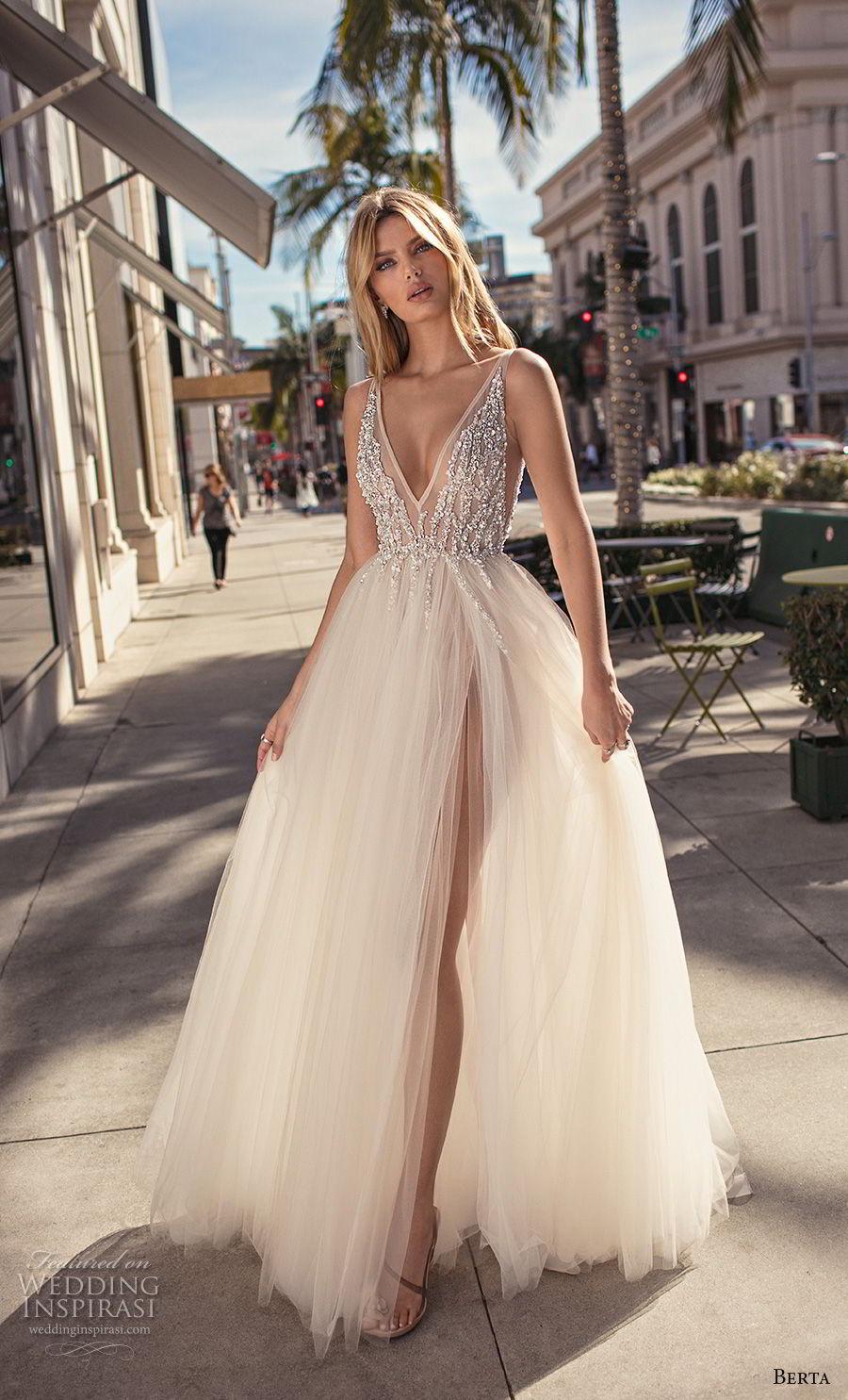 berta 2019 muse bridal sleeveless deep v neck heavily embellished bodice slit skirt glitzy romantic a  line wedding dress v back chapel train (11) mv