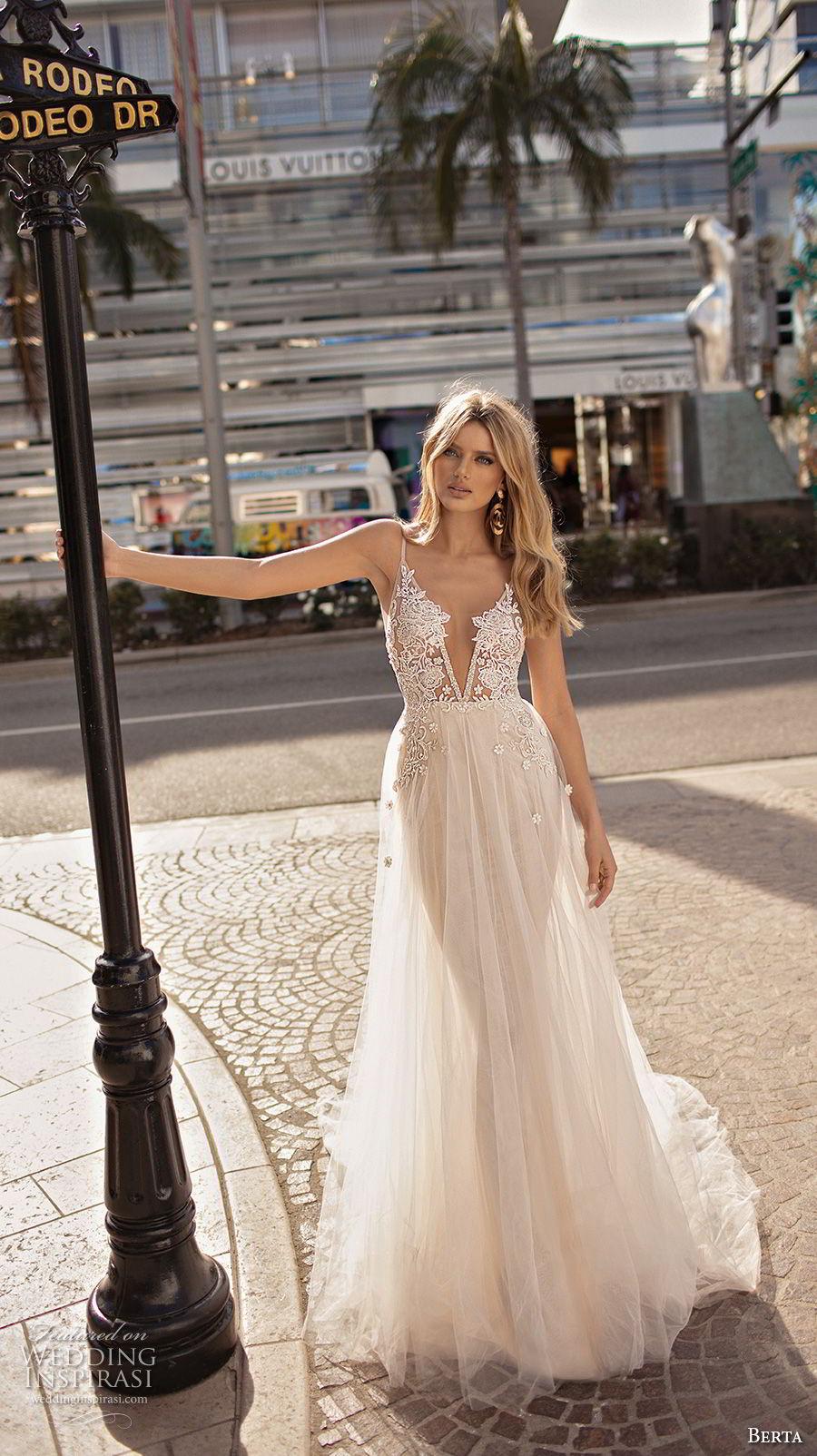 berta 2019 muse bridal sleeveless spaghetti strap deep v neck heavily embellished bodice romantic sexy soft a  line wedding dress open back chapel train (9) mv
