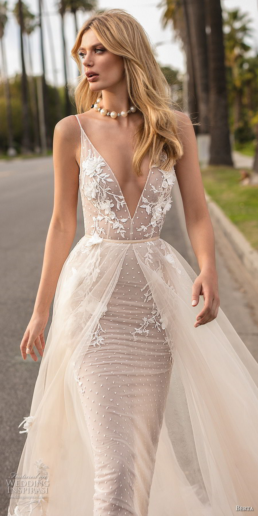 berta 2019 muse bridal sleeveless spaghetti strap deep v neck heavily embellished bodice romantic sheath wedding dress a  line overskirt open back chapel train (12) mv