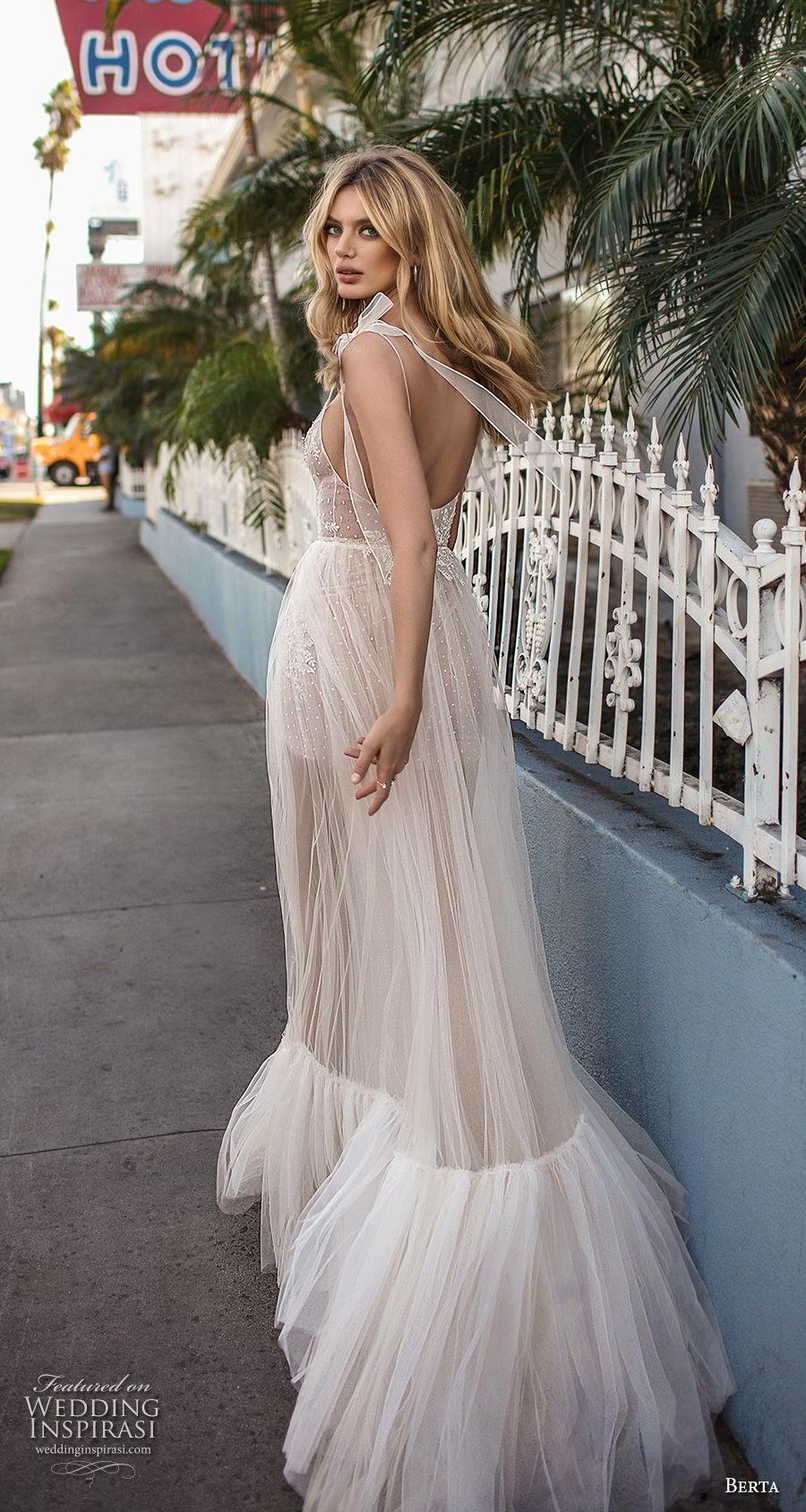 berta 2019 muse bridal sleeveless spaghetti strap diamond neck heavily embellished bodice slit skirt romantic soft a  line wedding dress scoop back sweep train (4) bv