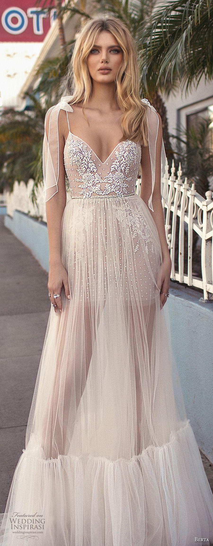 berta 2019 muse bridal sleeveless spaghetti strap diamond neck heavily embellished bodice slit skirt romantic soft a  line wedding dress scoop back sweep train (4) lv