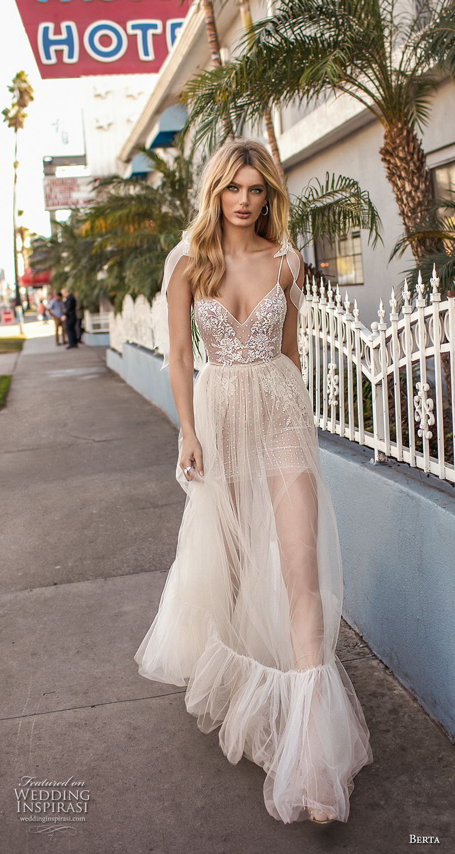 berta 2019 muse bridal sleeveless spaghetti strap diamond neck heavily embellished bodice slit skirt romantic soft a  line wedding dress scoop back sweep train (4) mv