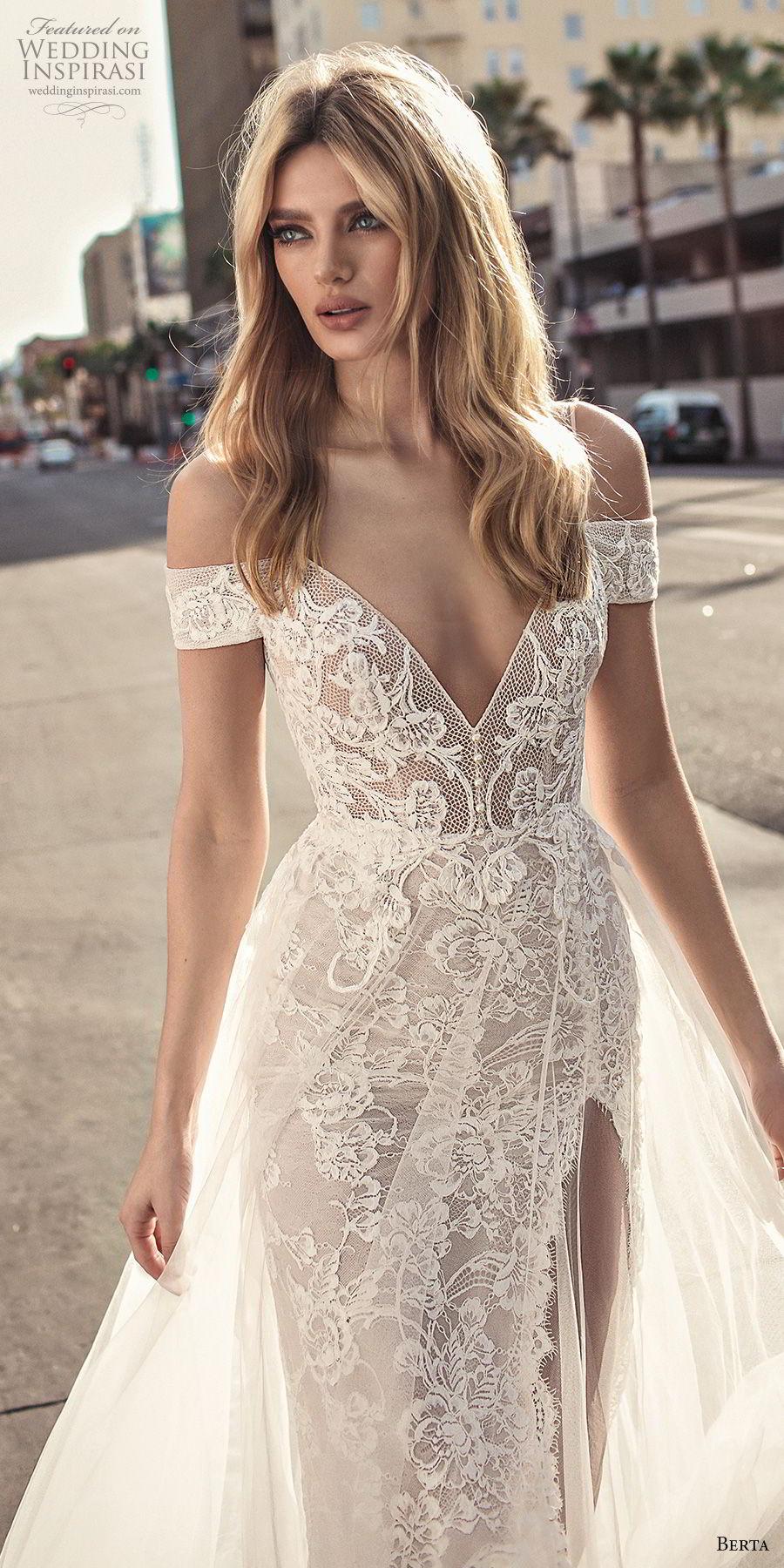 berta 2019 muse bridal spaghetti strap cold shoulder v neck full embellishment romantic soft a  line wedding dress scoop back sweep train (1) lv