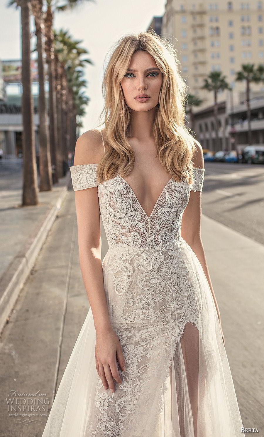 berta 2019 muse bridal spaghetti strap cold shoulder v neck full embellishment romantic soft a  line wedding dress scoop back sweep train (1) zv