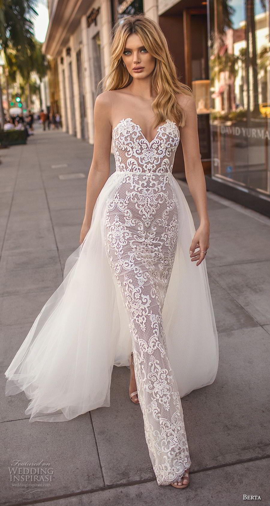 berta 2019 muse bridal strapless sweetheart neckline full embellishment elegant sexy sheath wedding dress a  line overskrt chapel train (6) mv