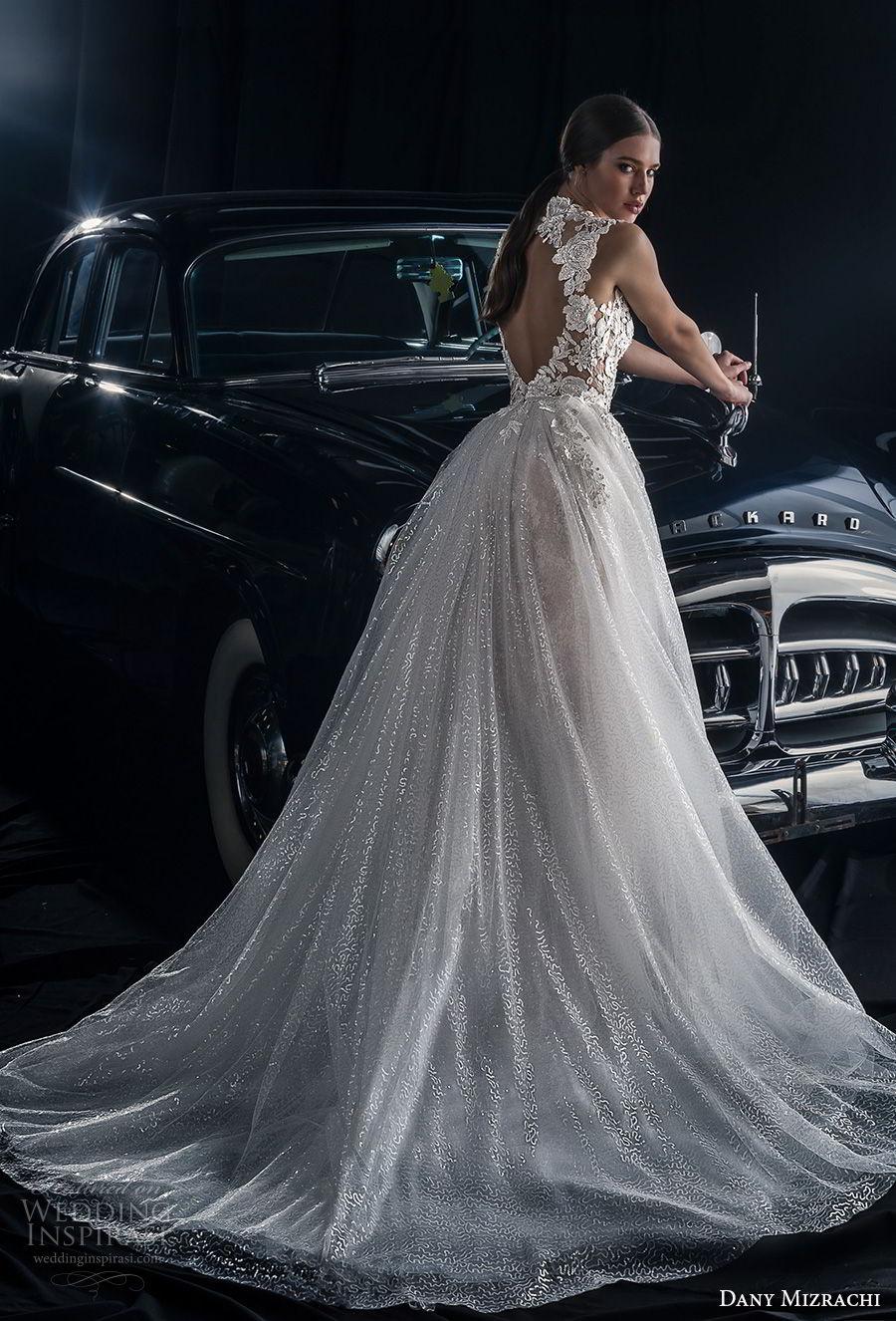 dany mizrachi fall 2018 bridal cap sleeves high neck full embellishment slit skirt ball gown a  line wedding dress keyhole back chapel train (9) bv