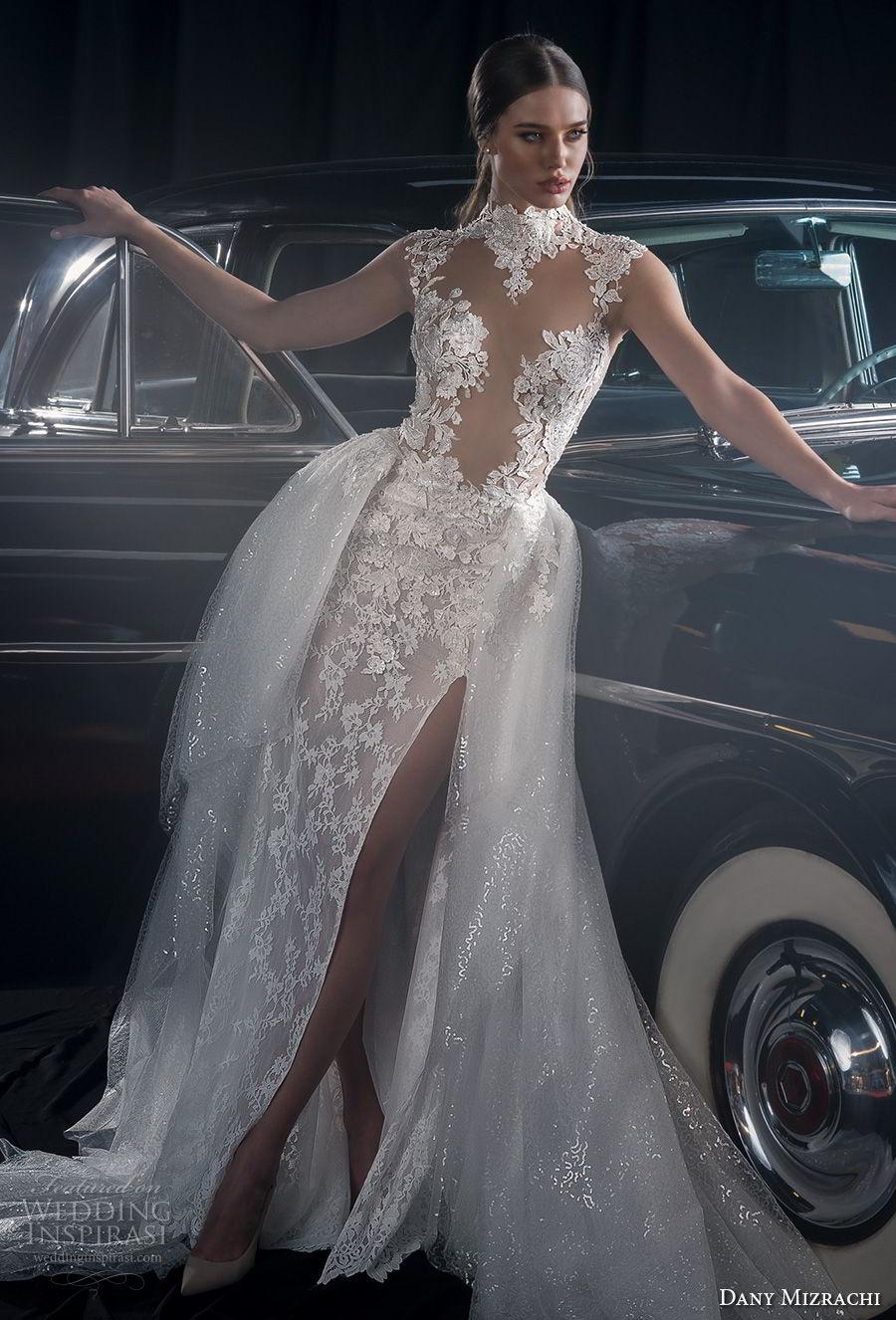 dany mizrachi fall 2018 bridal cap sleeves high neck full embellishment slit skirt ball gown a  line wedding dress keyhole back chapel train (9) mv