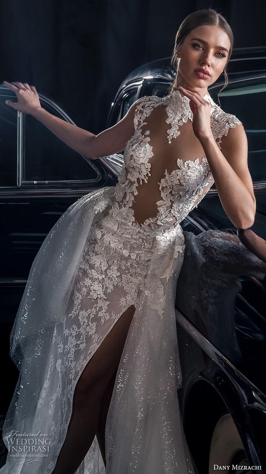 dany mizrachi fall 2018 bridal cap sleeves high neck full embellishment slit skirt ball gown a  line wedding dress keyhole back chapel train (9) zv
