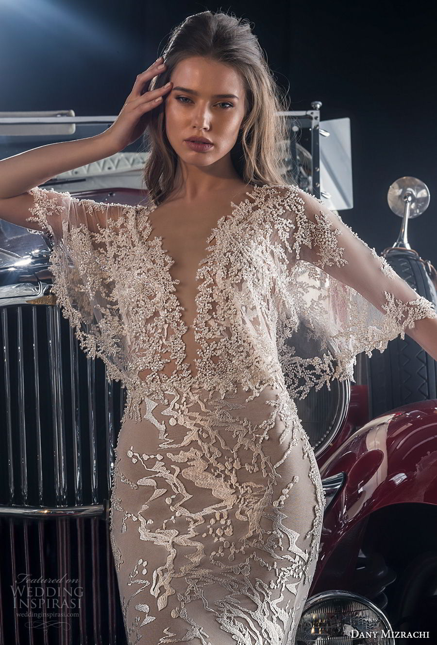 dany mizrachi fall 2018 bridal half butterfly sleeves sheer bateau deep v neckline full embellishment romantic bohemian fit and flare wedding dress v back chapel train (4) zv