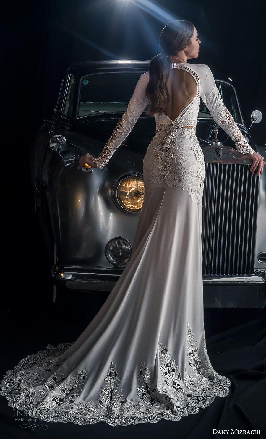 dany mizrachi fall 2018 bridal long sleeves diamond neckline heavily embellished middle slit skirt bodice sexy glamorous sheath wedding dress keyhole back sweep train (12) bv