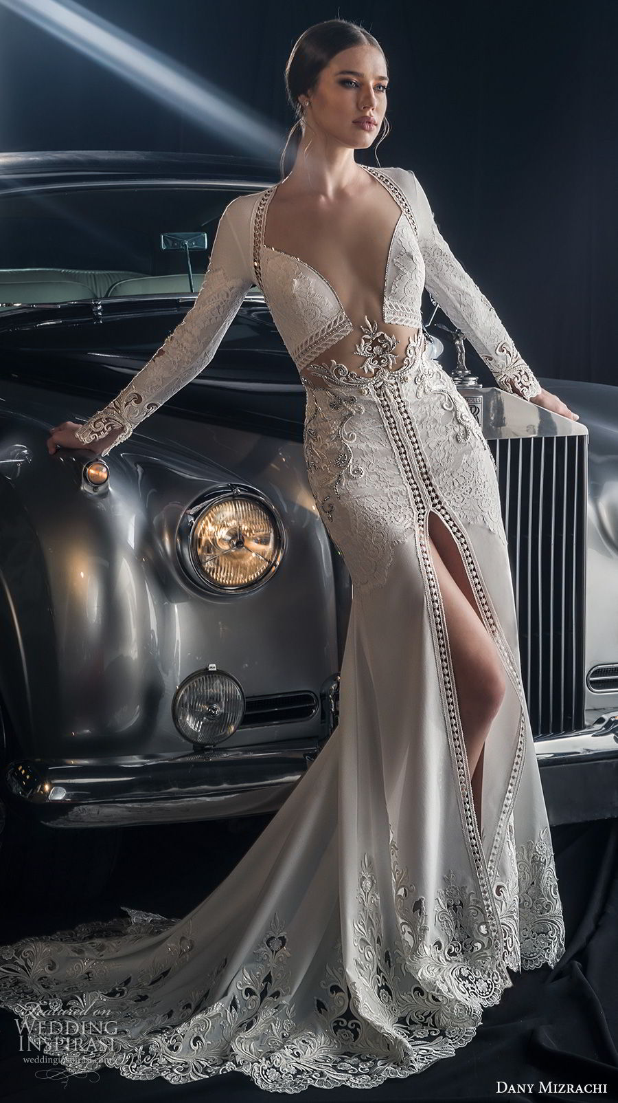 dany mizrachi fall 2018 bridal long sleeves diamond neckline heavily embellished middle slit skirt bodice sexy glamorous sheath wedding dress keyhole back sweep train (12) mv