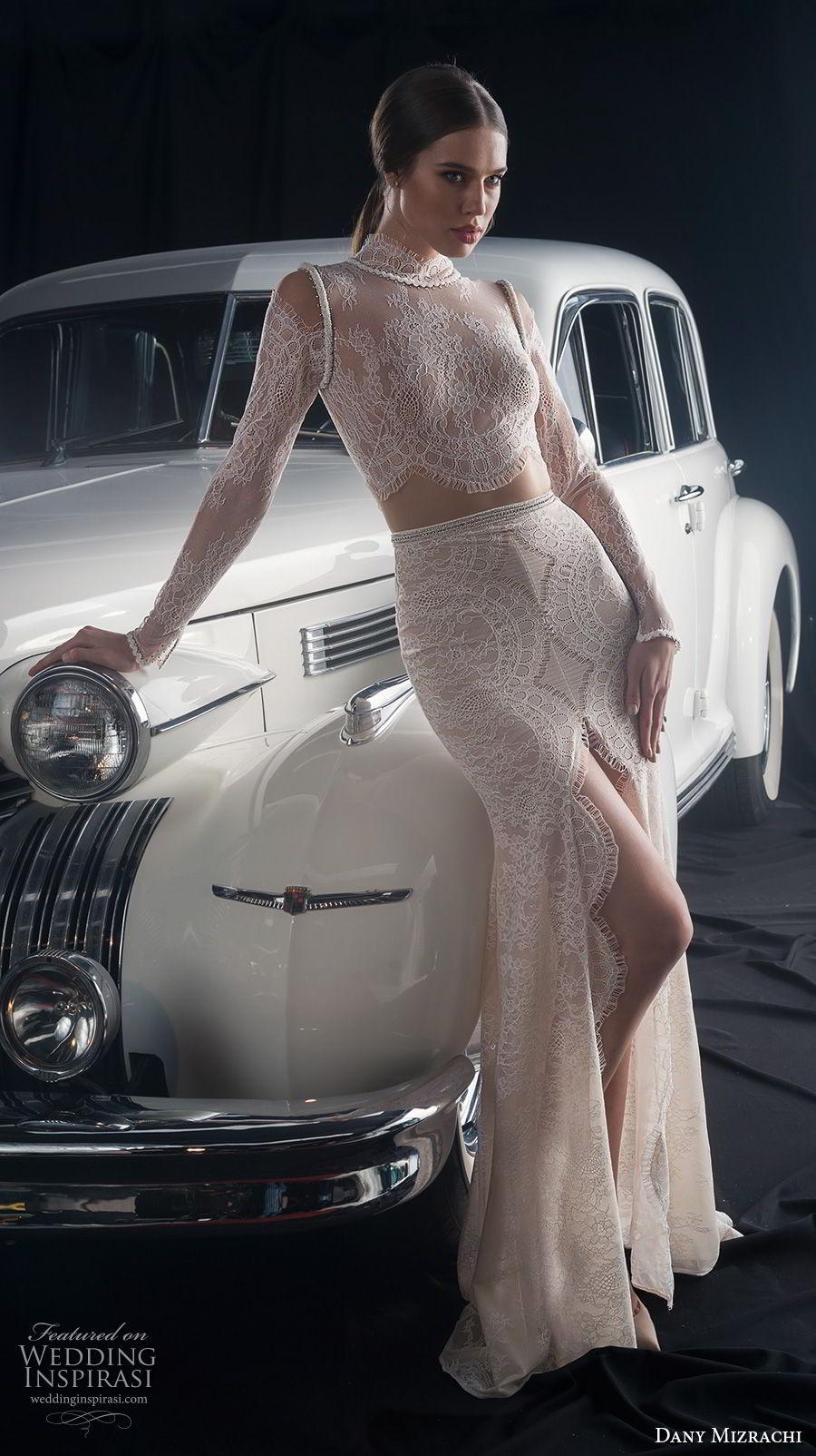 dany mizrachi fall 2018 bridal long sleeves high neck full embellishment crop top middle slit skirt sexy elegant sheath wedding dress sweep train (6) mv