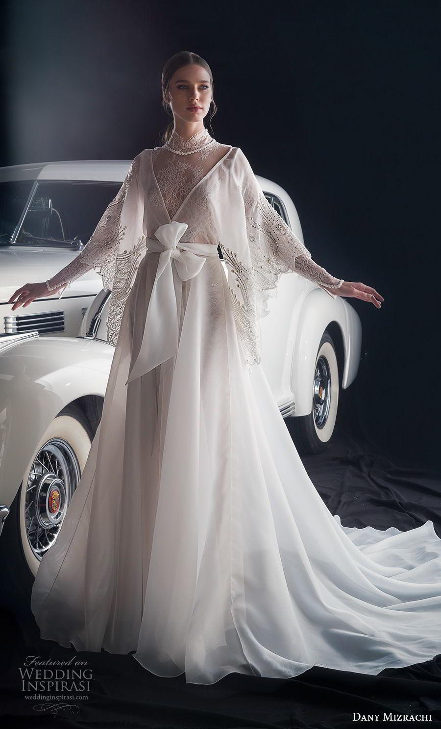 dany mizrachi fall 2018 bridal long sleeves high neck heavily embellished bodice romantic bohemian waist ribbon a  line wedding dress chapel train (6) mv