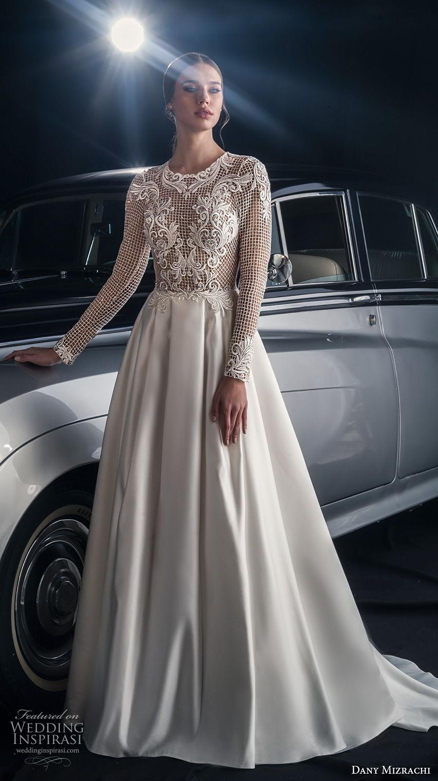 dany mizrachi fall 2018 bridal long sleeves jewel neck full embellishment elegant glamorous a  line wedding dress lace back chapel train (11) mv