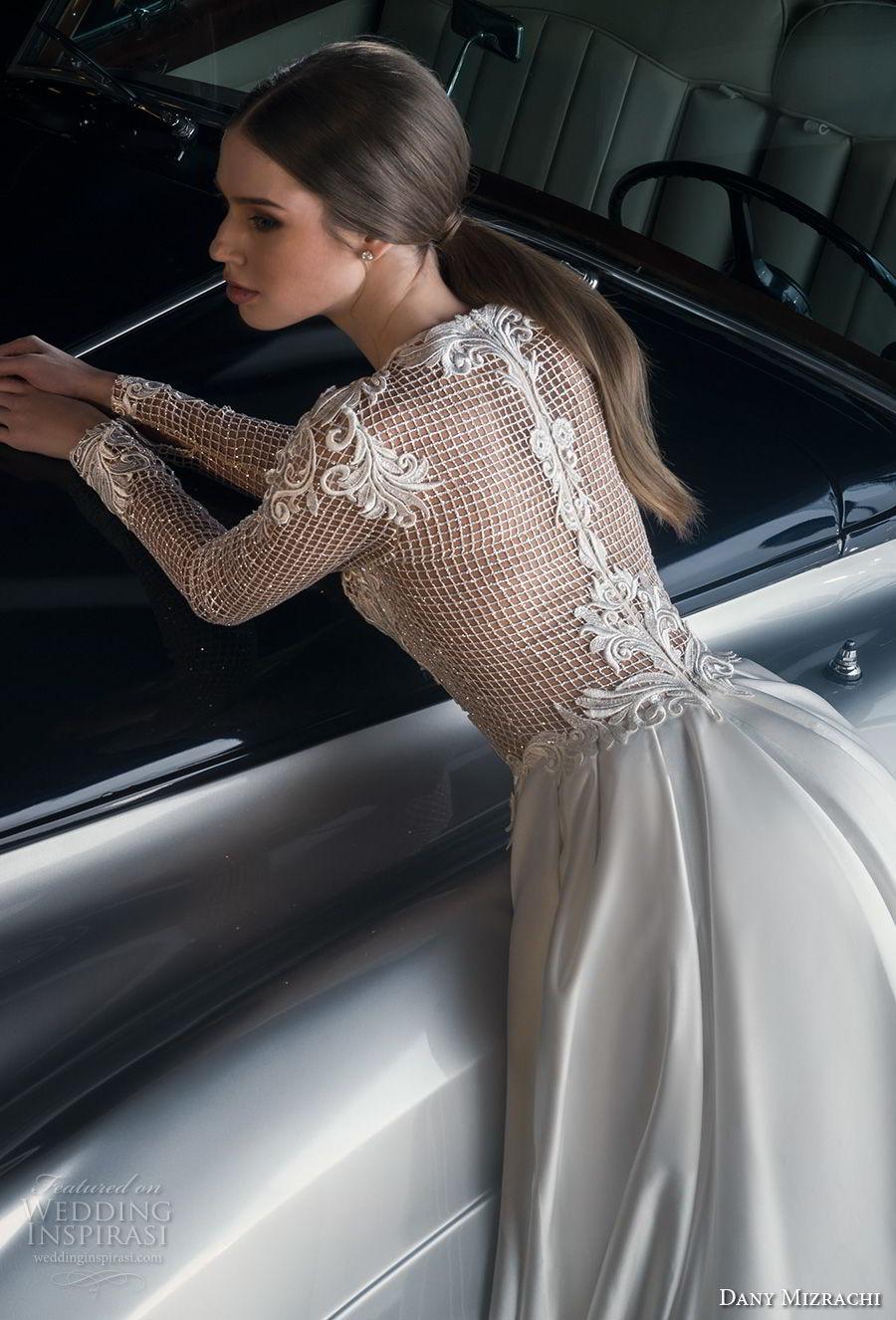 dany mizrachi fall 2018 bridal long sleeves jewel neck full embellishment elegant glamorous a  line wedding dress lace back chapel train (11) zbv