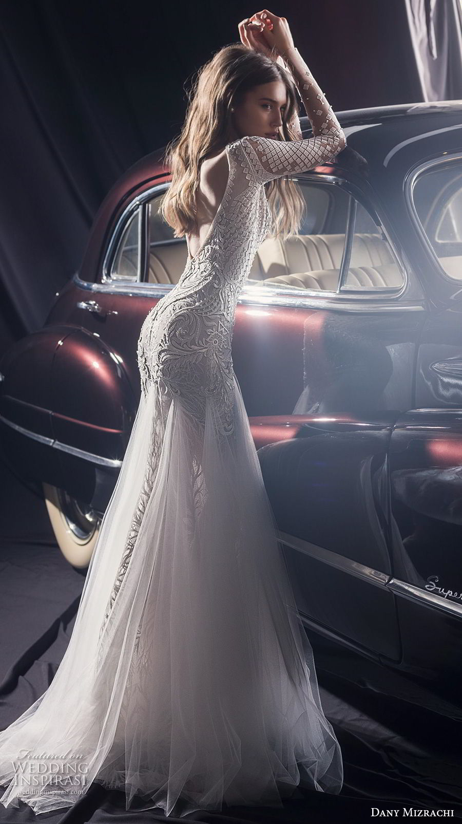 dany mizrachi fall 2018 bridal long sleeves v neck full embellishment sexy glamorous fit and flare wedding dress a  line overskirt v back chapel train (2) bv