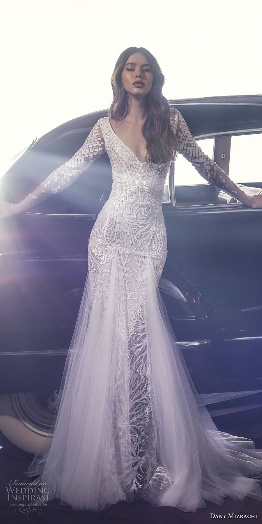 dany mizrachi fall 2018 bridal long sleeves v neck full embellishment sexy glamorous fit and flare wedding dress a  line overskirt v back chapel train (2) mv