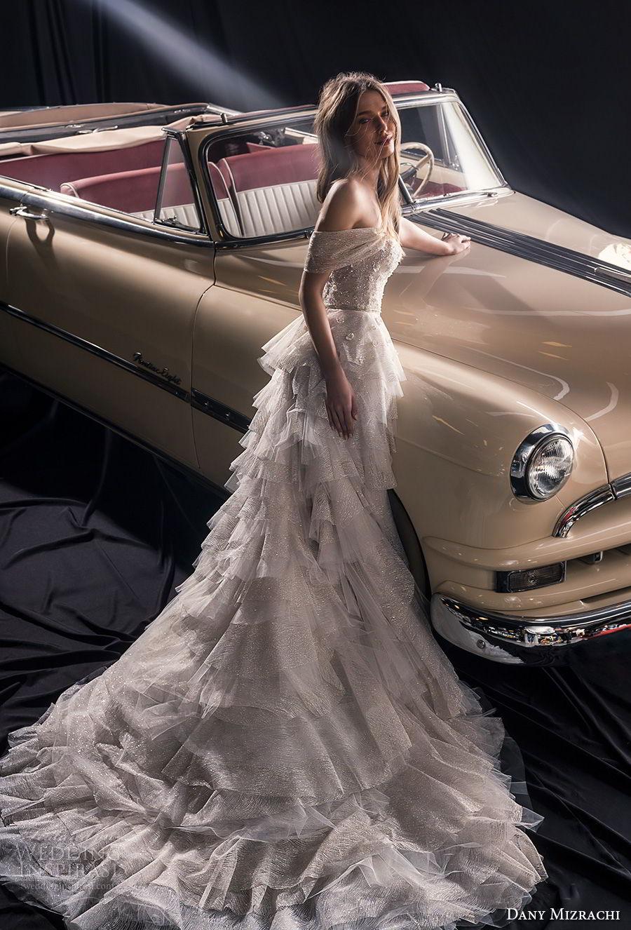 dany mizrachi fall 2018 bridal off the shoulder sweetheart neckline heavily embellished bodice layered skirt romantic a  line wedding dress chapel train (17) bv