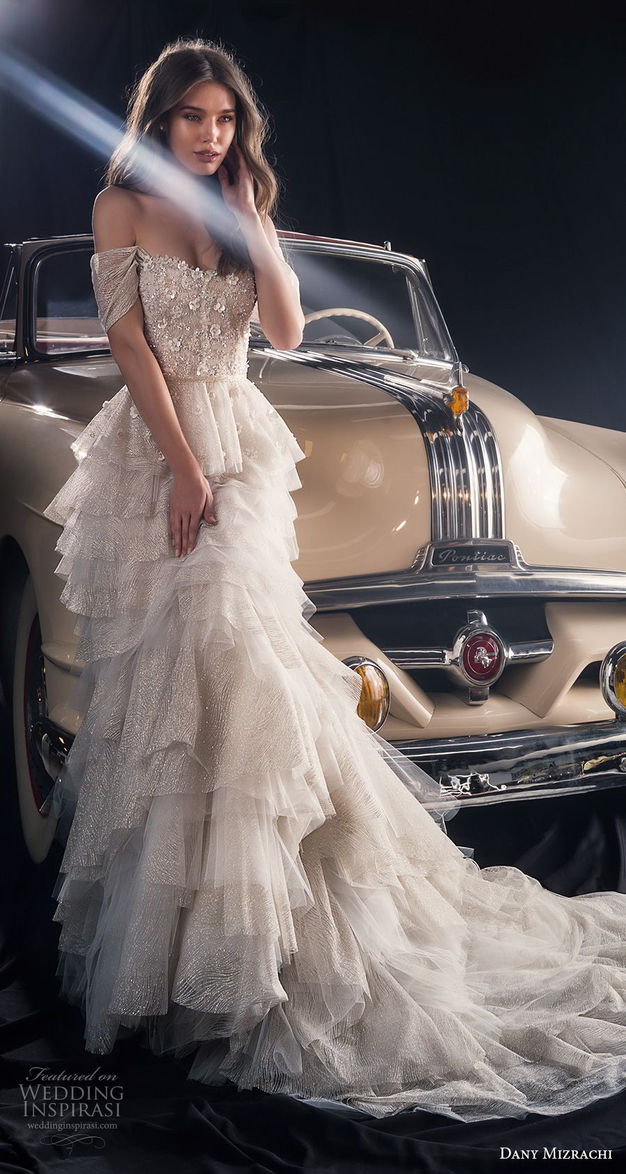 dany mizrachi fall 2018 bridal off the shoulder sweetheart neckline heavily embellished bodice layered skirt romantic a  line wedding dress chapel train (17) mv